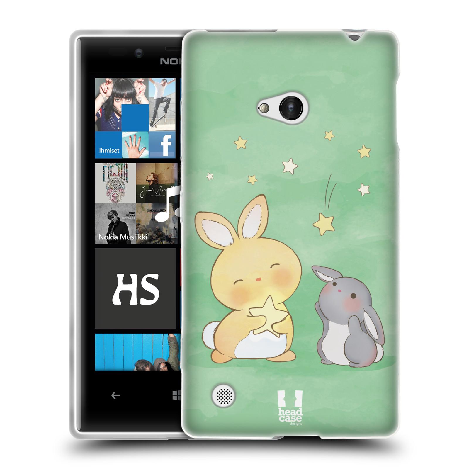HEAD CASE silikonový obal na mobil NOKIA Lumia 720 vzor králíček a hvězdy zelená