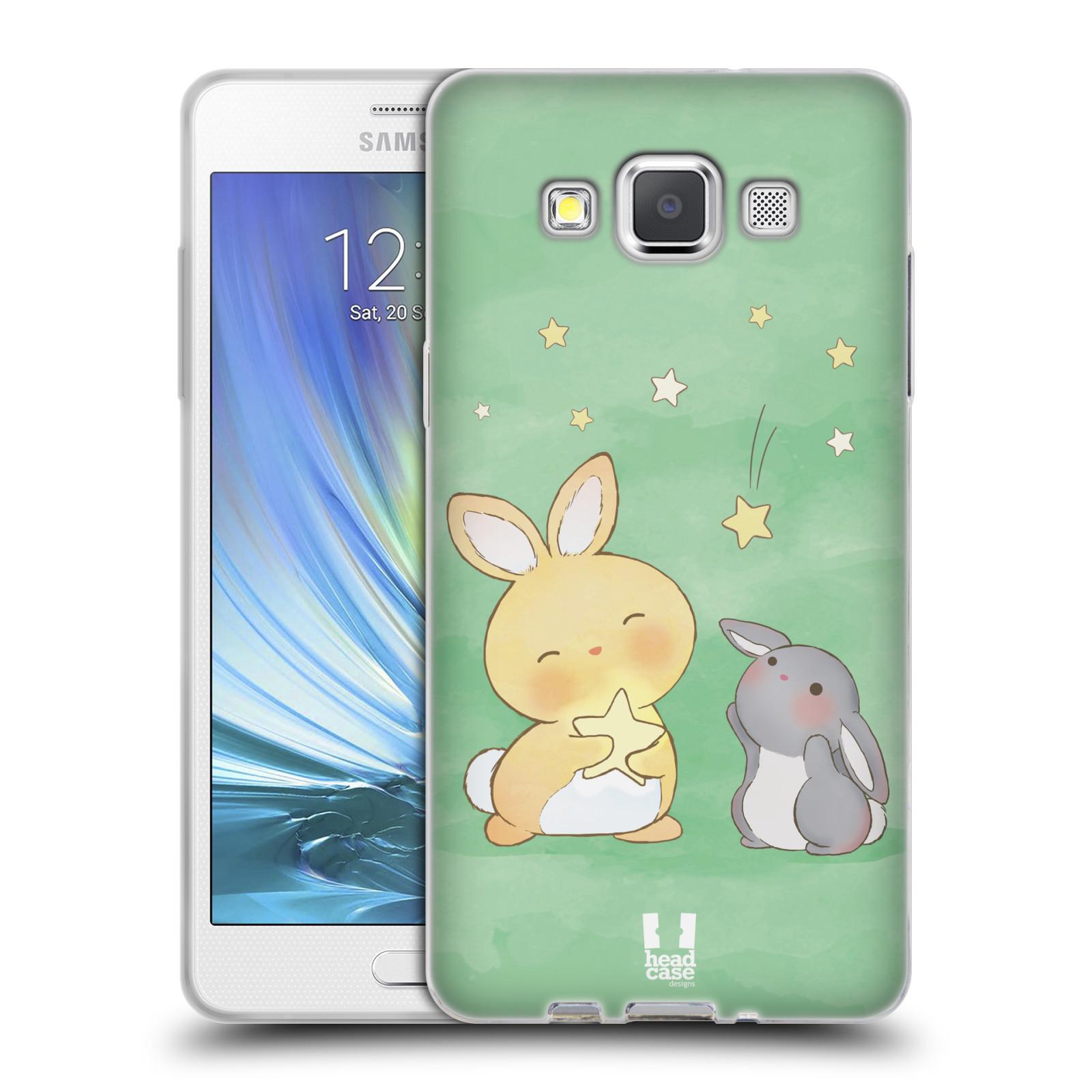 HEAD CASE silikonový obal na mobil Samsung Galaxy A5 vzor králíček a hvězdy zelená