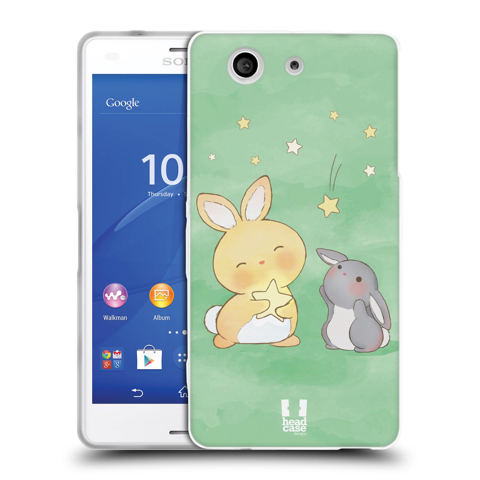 HEAD CASE silikonový obal na mobil Sony Xperia Z3 COMPACT (D5803) vzor králíček a hvězdy zelená