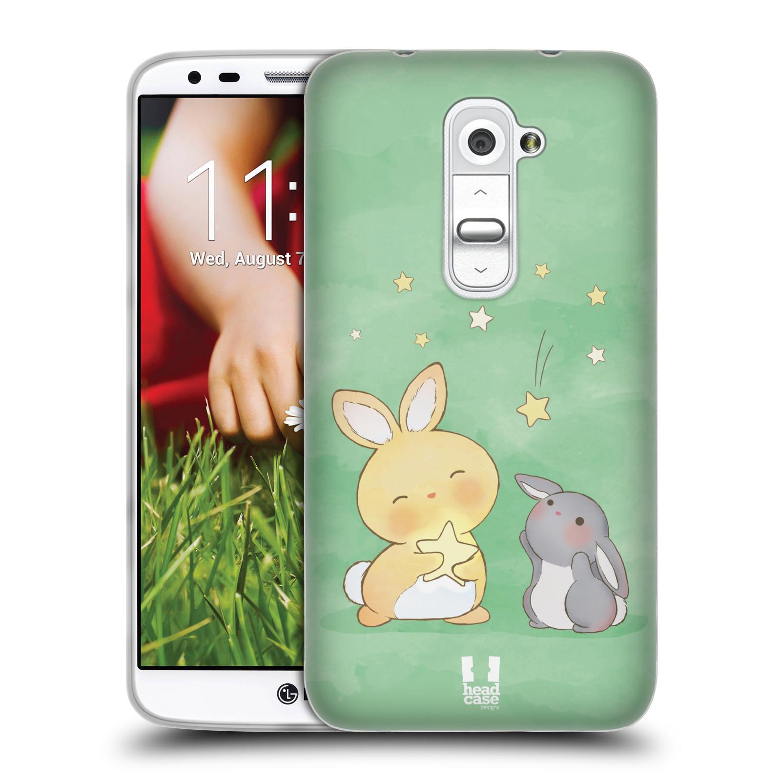HEAD CASE silikonový obal na mobil LG G2 vzor králíček a hvězdy zelená