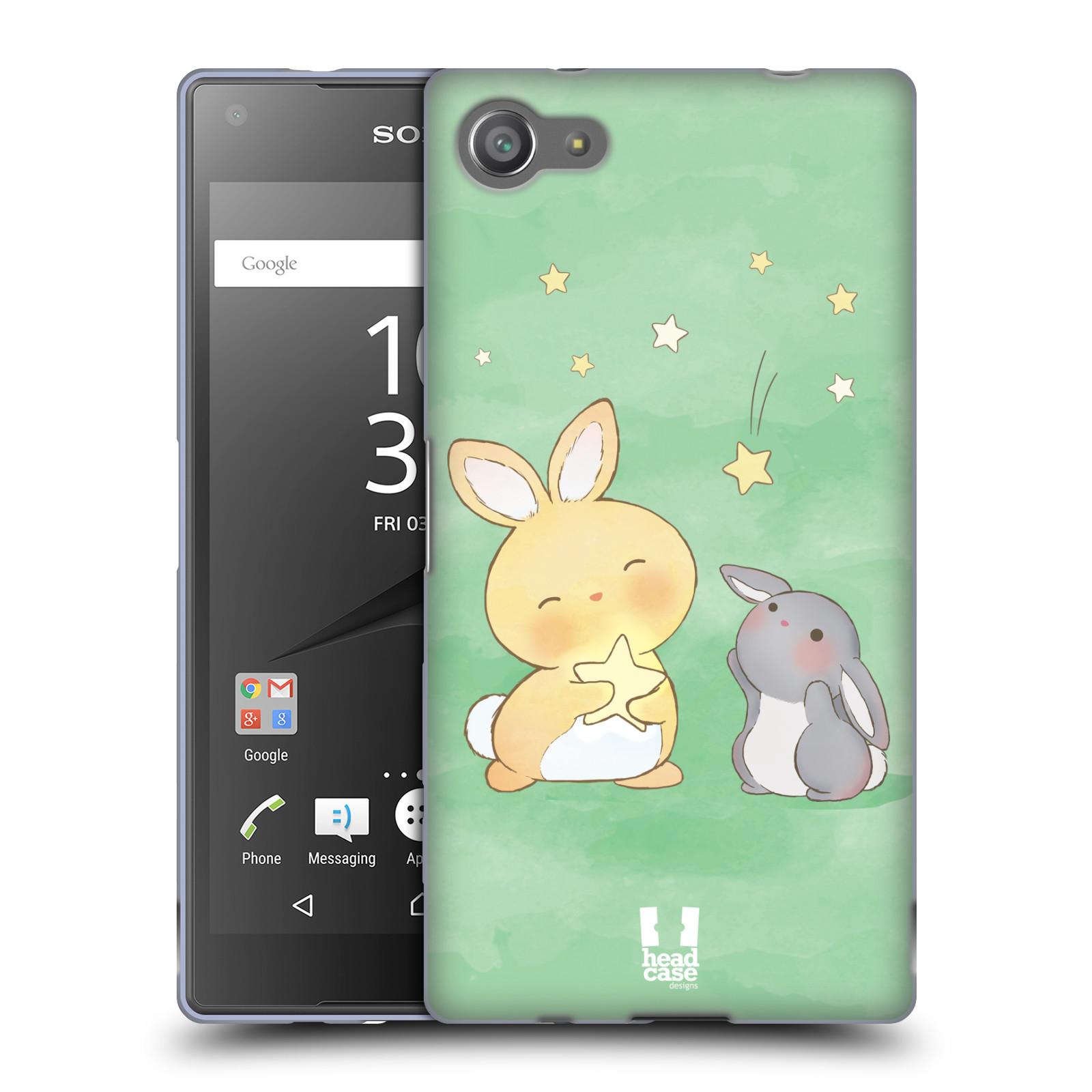 HEAD CASE silikonový obal na mobil Sony Xperia Z5 COMPACT vzor králíček a hvězdy zelená