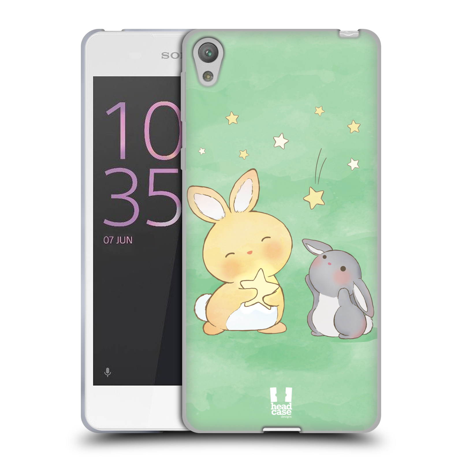 HEAD CASE silikonový obal na mobil SONY XPERIA E5 vzor králíček a hvězdy zelená