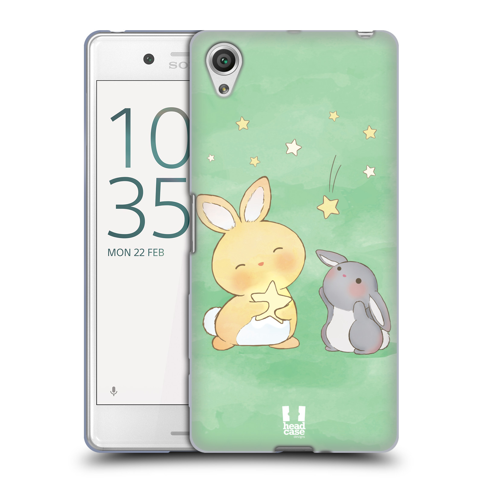 HEAD CASE silikonový obal na mobil Sony Xperia X PERFORMANCE (F8131, F8132) vzor králíček a hvězdy zelená