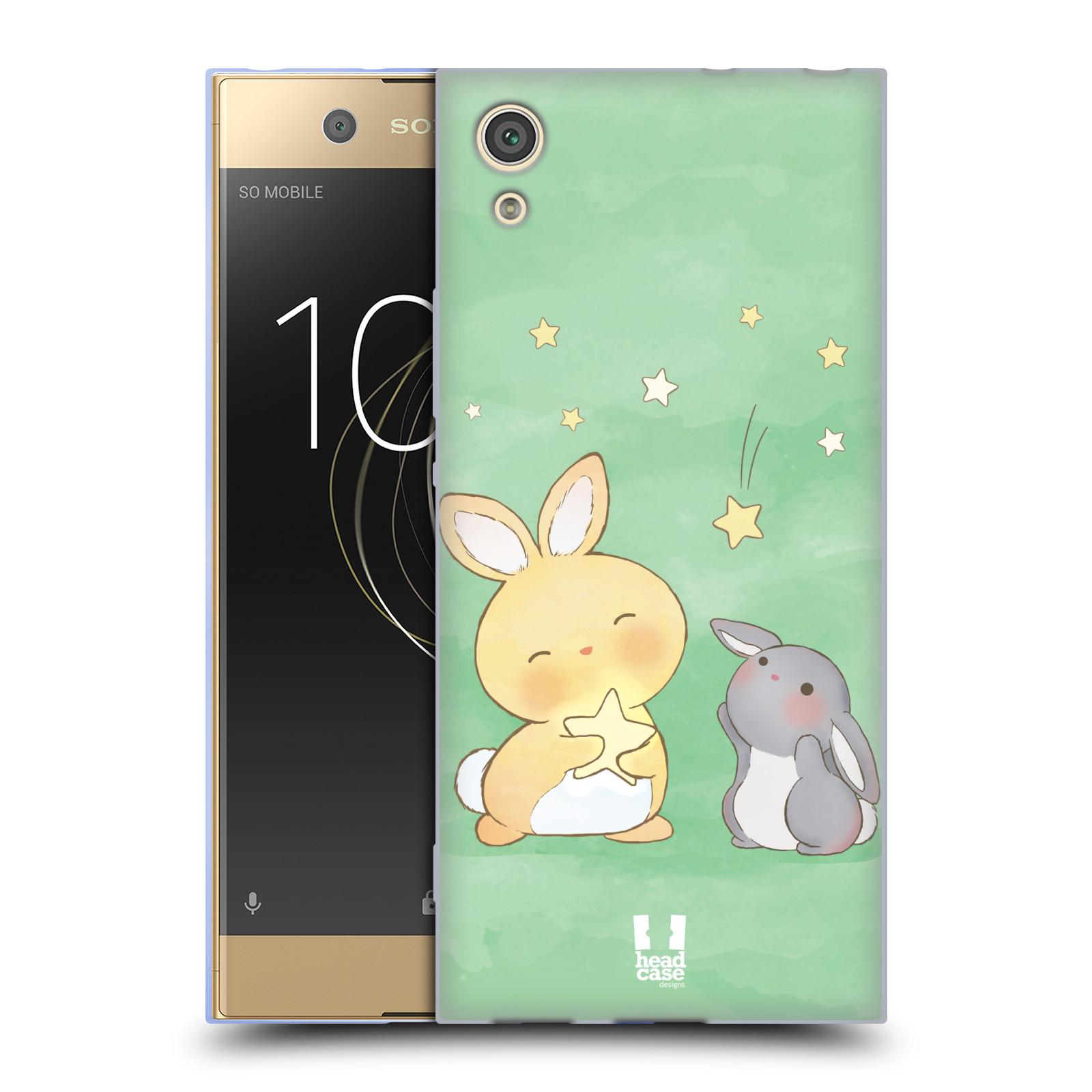 HEAD CASE silikonový obal na mobil Sony Xperia XA1 / XA1 DUAL SIM vzor králíček a hvězdy zelená