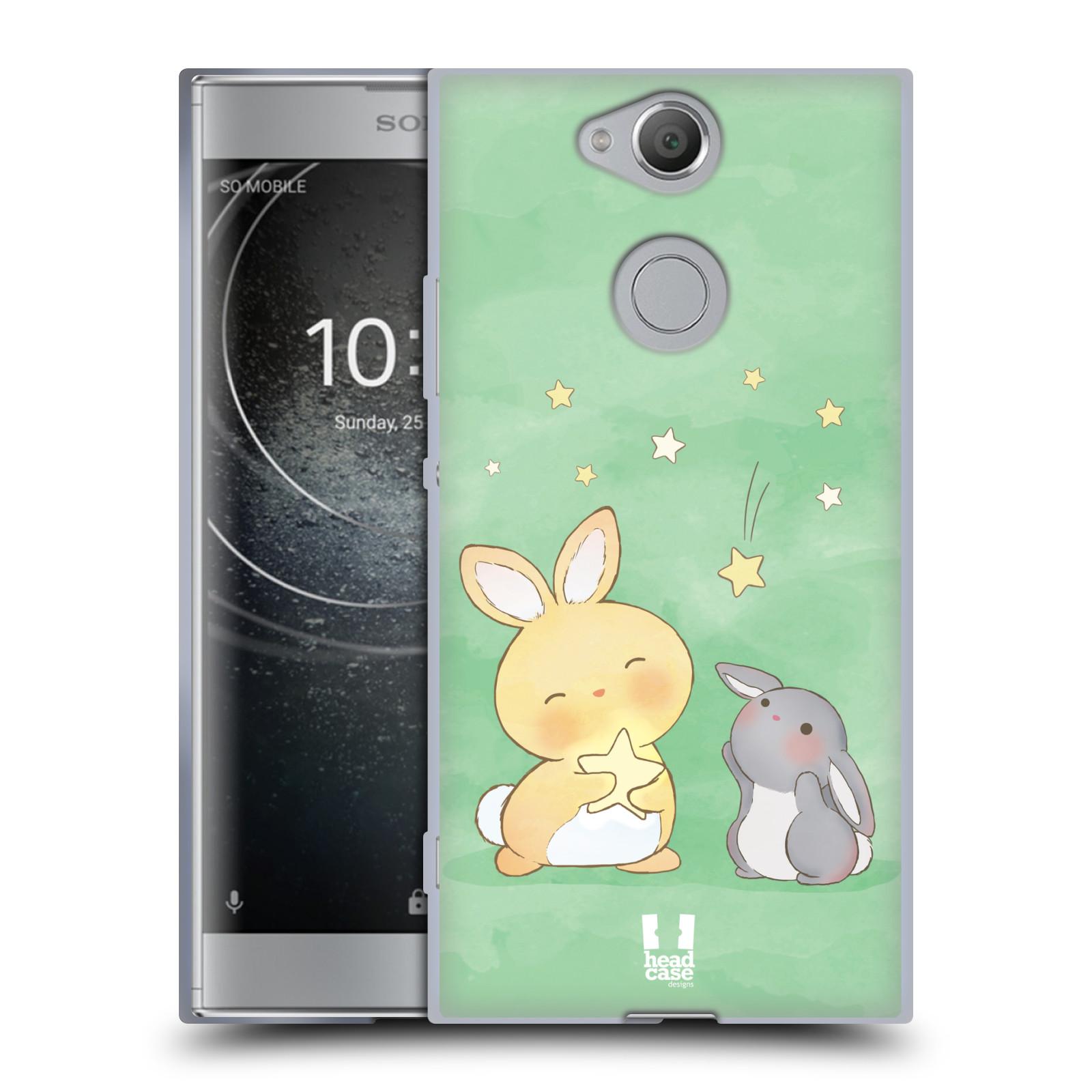 Pouzdro na mobil Sony Xperia XA2 (DUAL SIM, SINGLE SIM) vzor králíček a hvězdy zelená