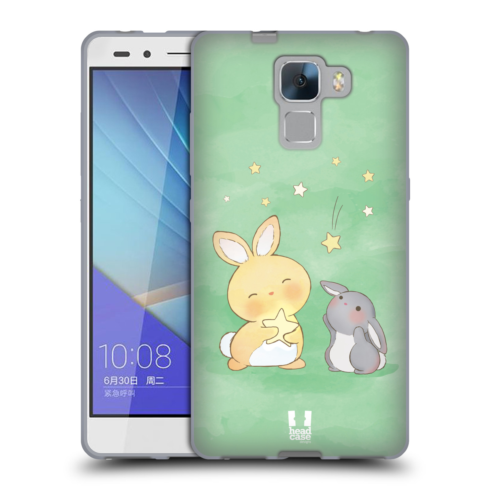 HEAD CASE silikonový obal na mobil HUAWEI HONOR 7 vzor králíček a hvězdy zelená