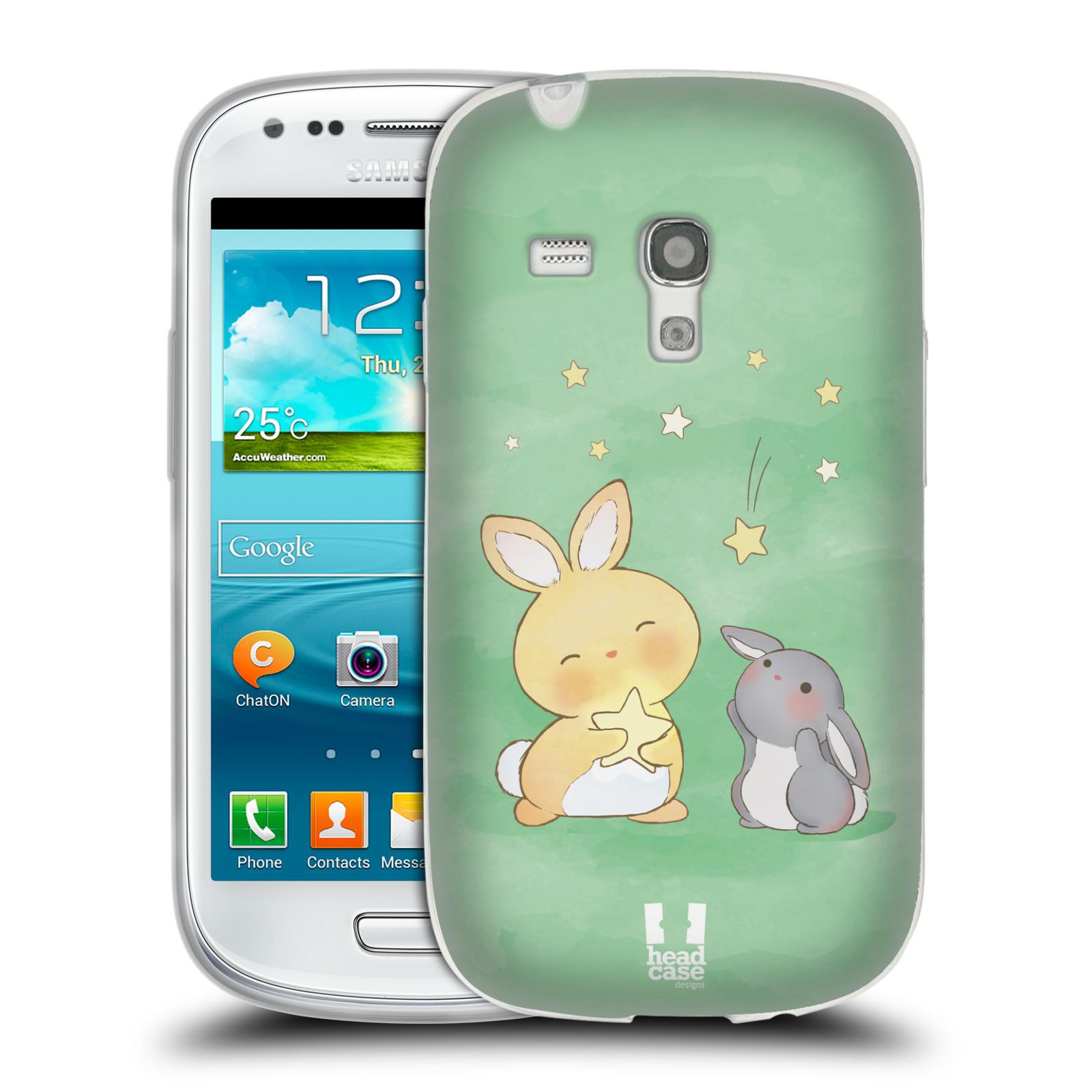 HEAD CASE silikonový obal na mobil Samsung Galaxy S3 MINI i8190 vzor králíček a hvězdy zelená