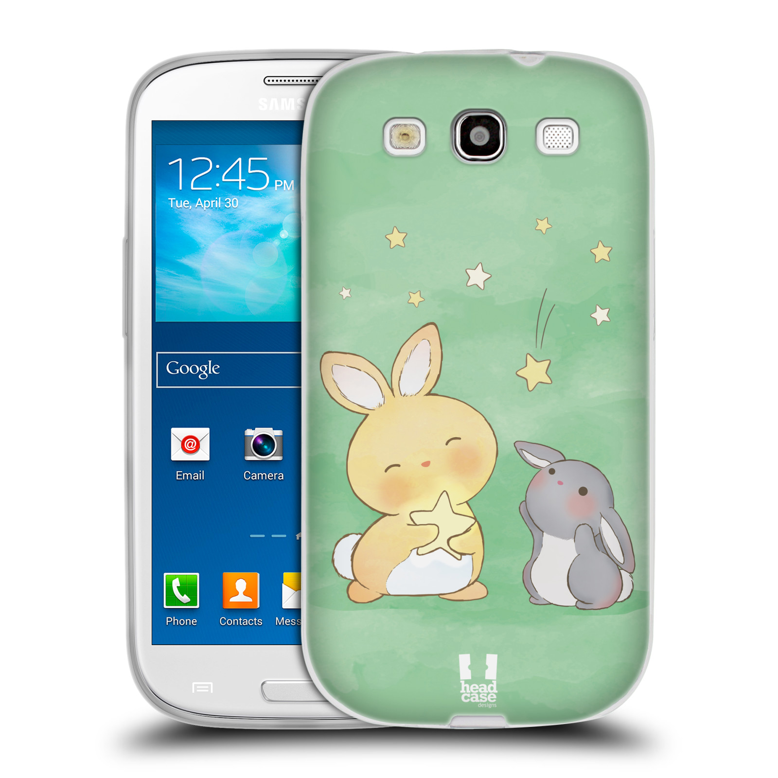 HEAD CASE silikonový obal na mobil Samsung Galaxy S3 i9300 vzor králíček a hvězdy zelená