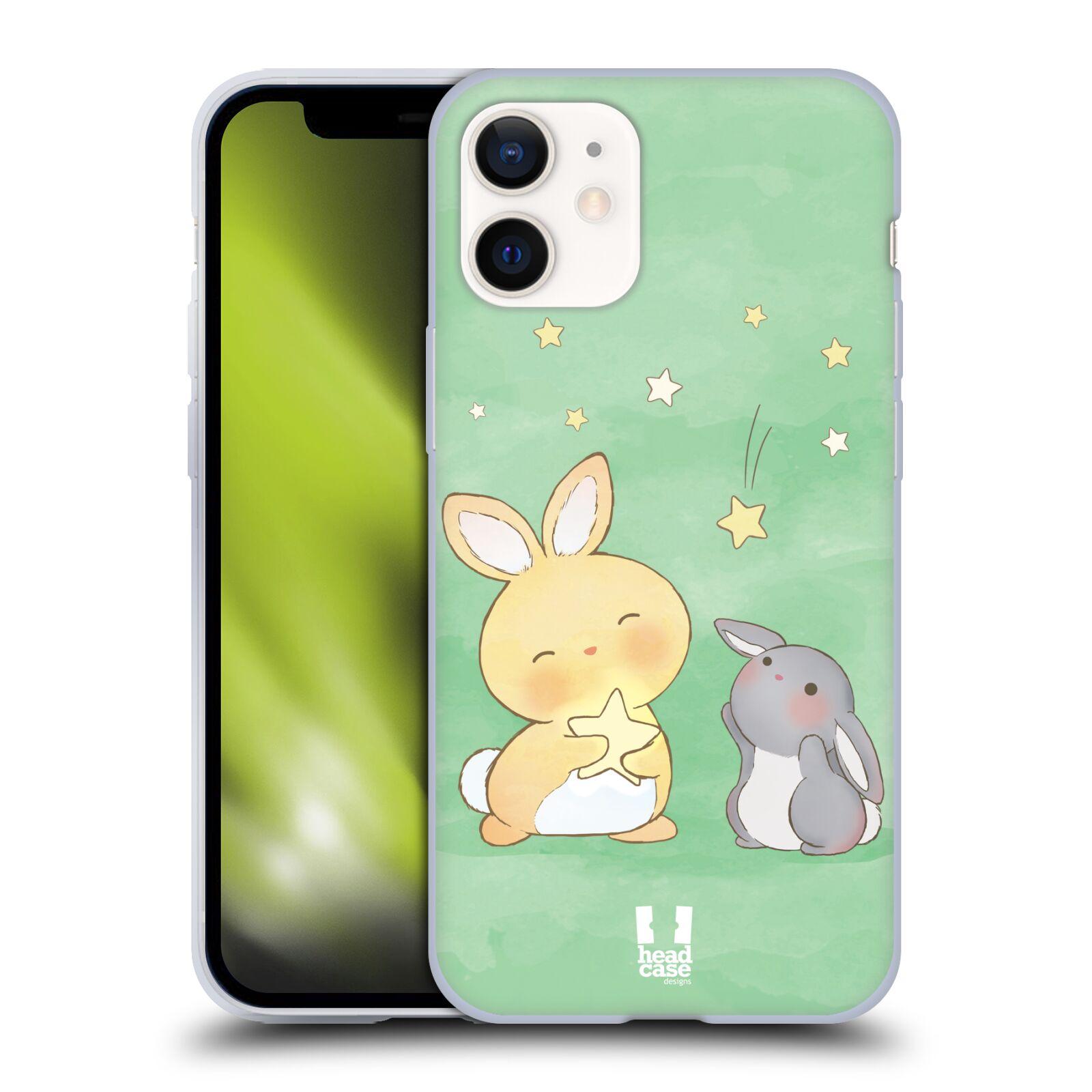 Plastový obal na mobil Apple Iphone 12 MINI vzor králíček a hvězdy zelená