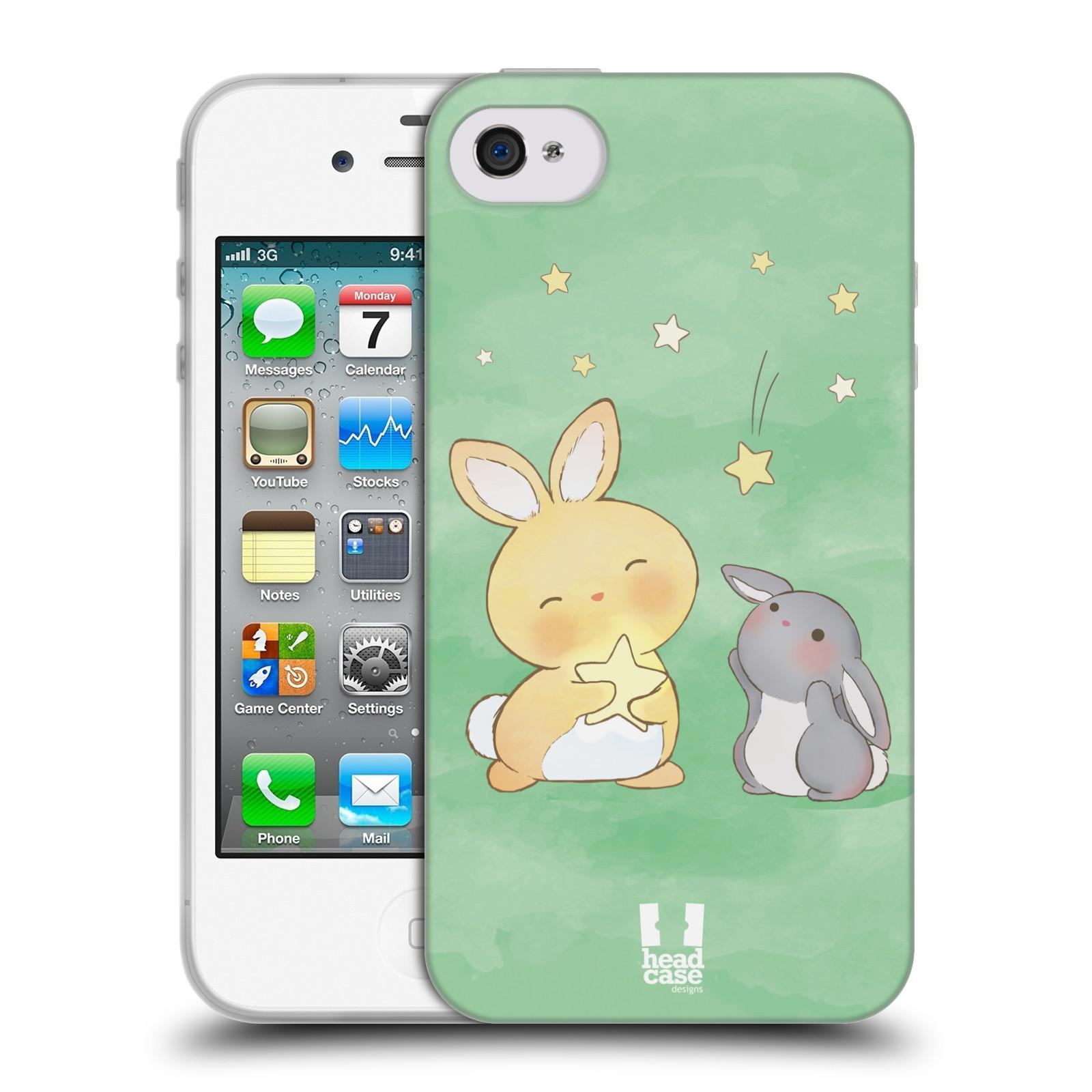 HEAD CASE silikonový obal na mobil Apple Iphone 4/4S vzor králíček a hvězdy zelená