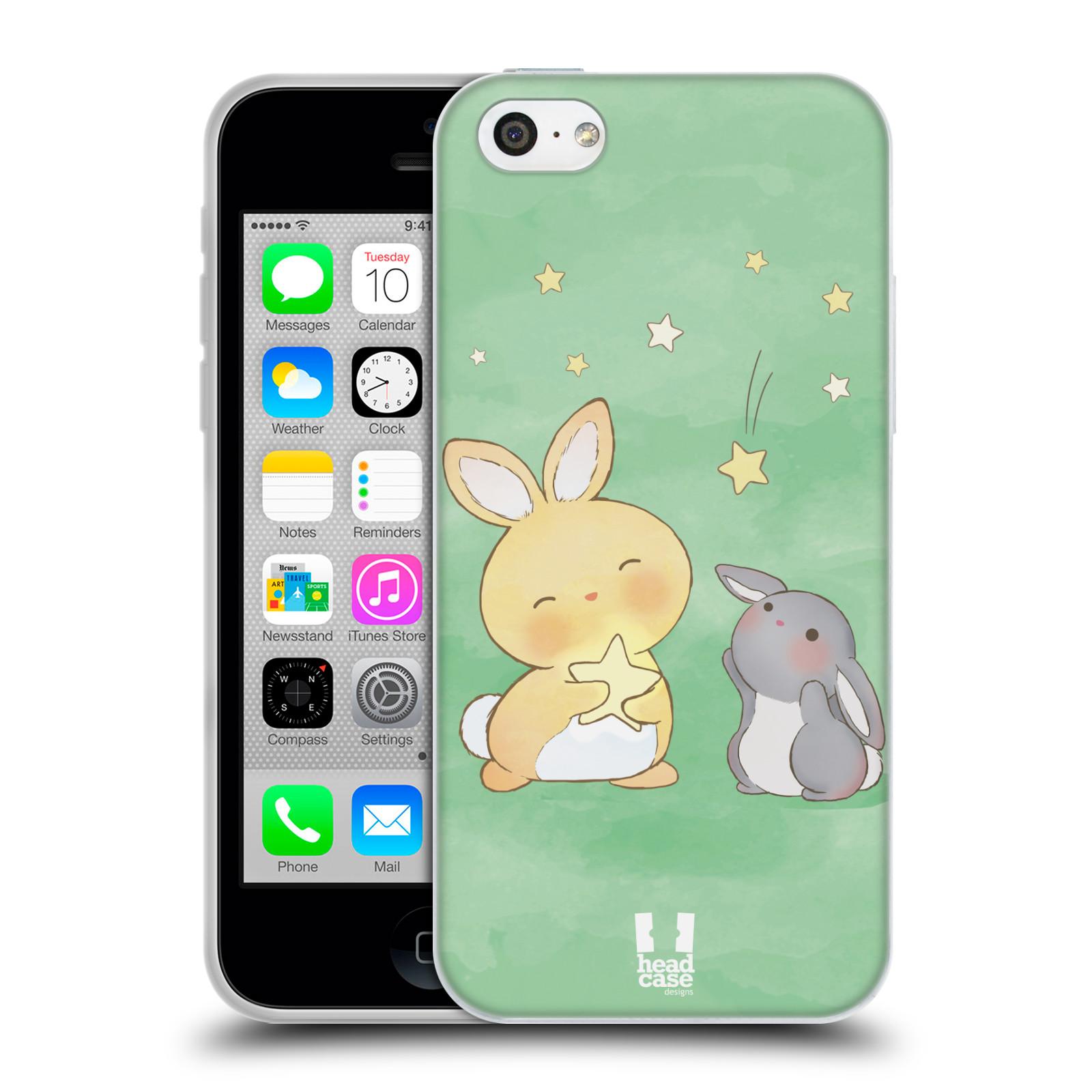 HEAD CASE silikonový obal na mobil Apple Iphone 5C vzor králíček a hvězdy zelená