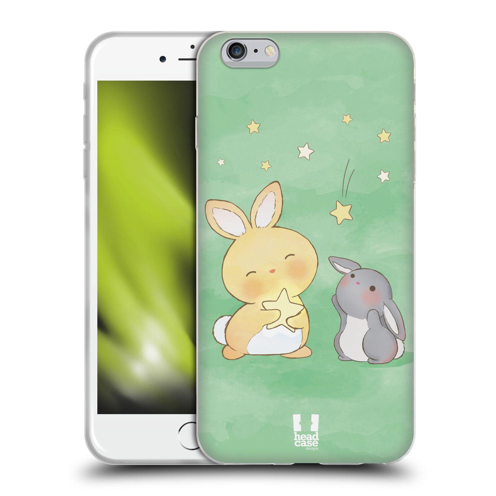 HEAD CASE silikonový obal na mobil Apple Iphone 6 PLUS/ 6S PLUS vzor králíček a hvězdy zelená