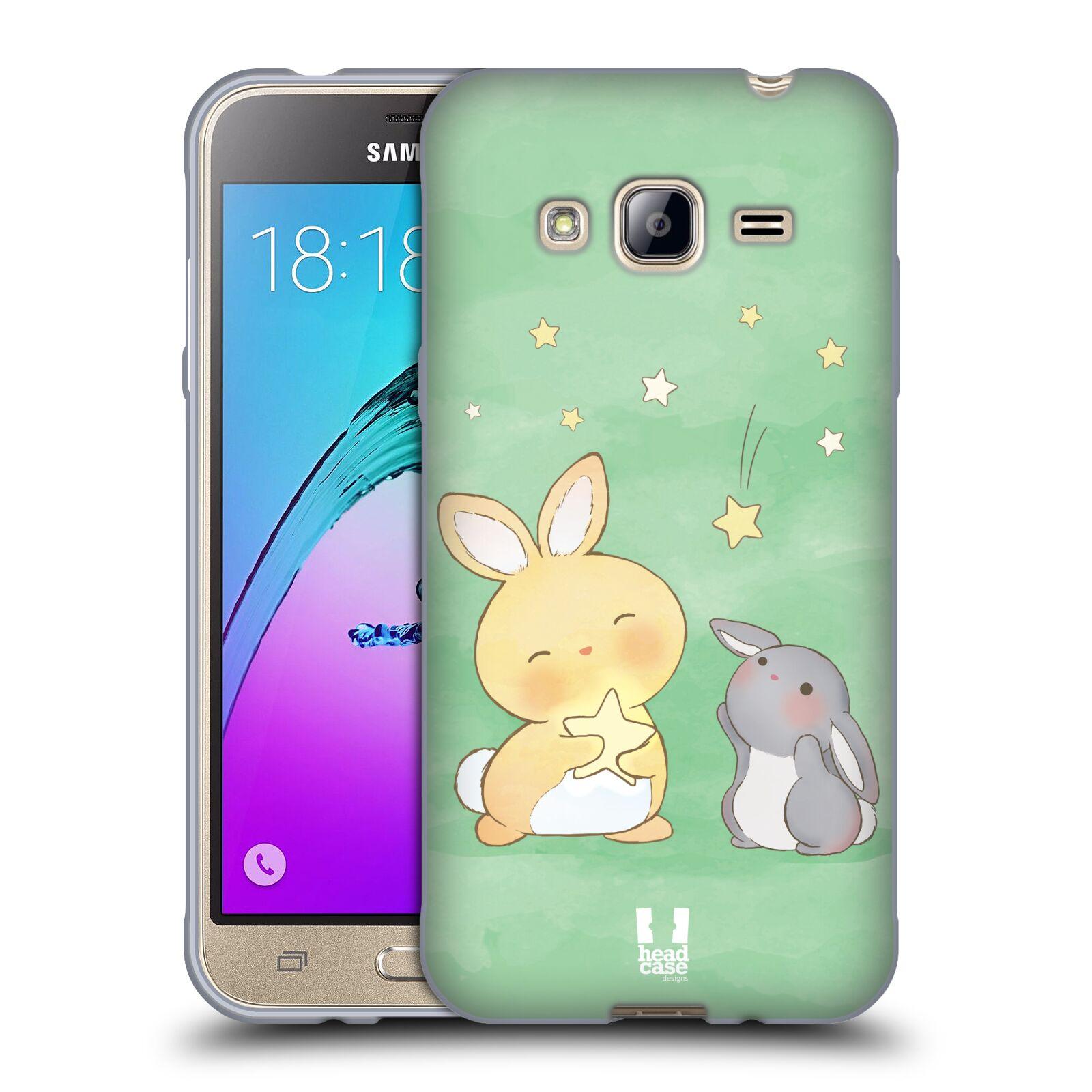 HEAD CASE silikonový obal na mobil Samsung Galaxy J3, J3 2016 vzor králíček a hvězdy zelená