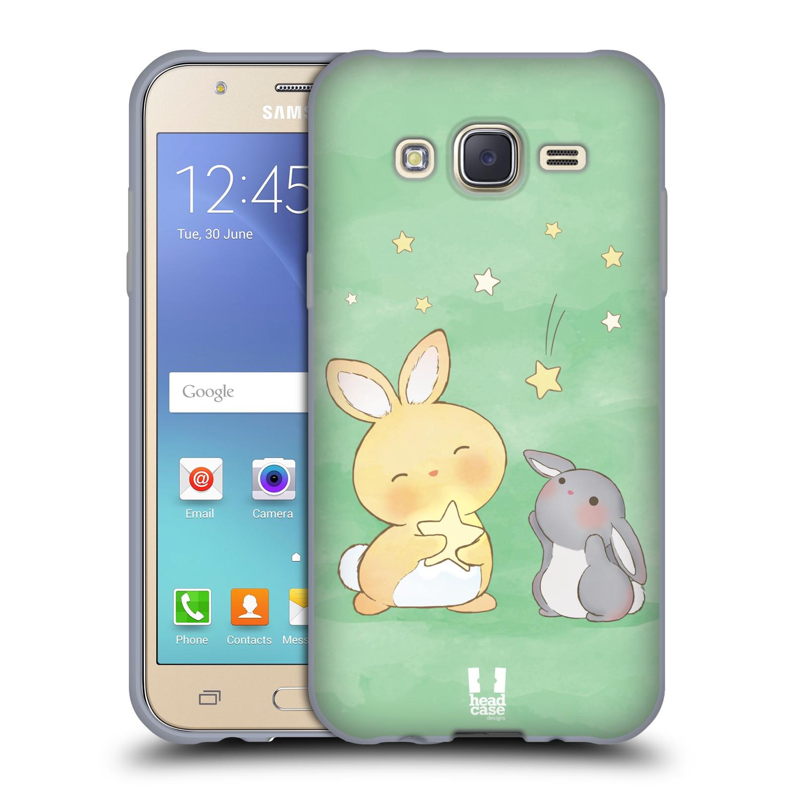 HEAD CASE silikonový obal na mobil Samsung Galaxy J5, J500, (J5 DUOS) vzor králíček a hvězdy zelená