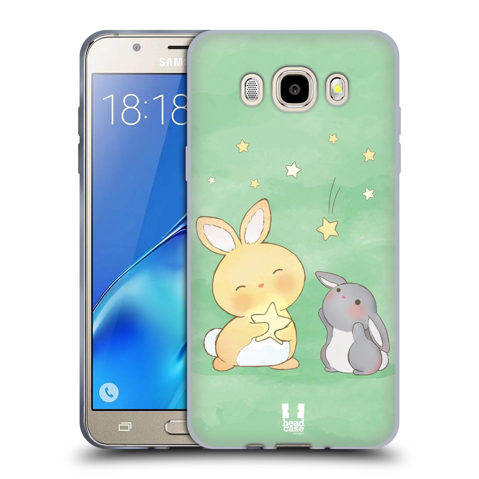 HEAD CASE silikonový obal, kryt na mobil Samsung Galaxy J5 2016, J510, J510F, (J510F DUAL SIM) vzor králíček a hvězdy zelená