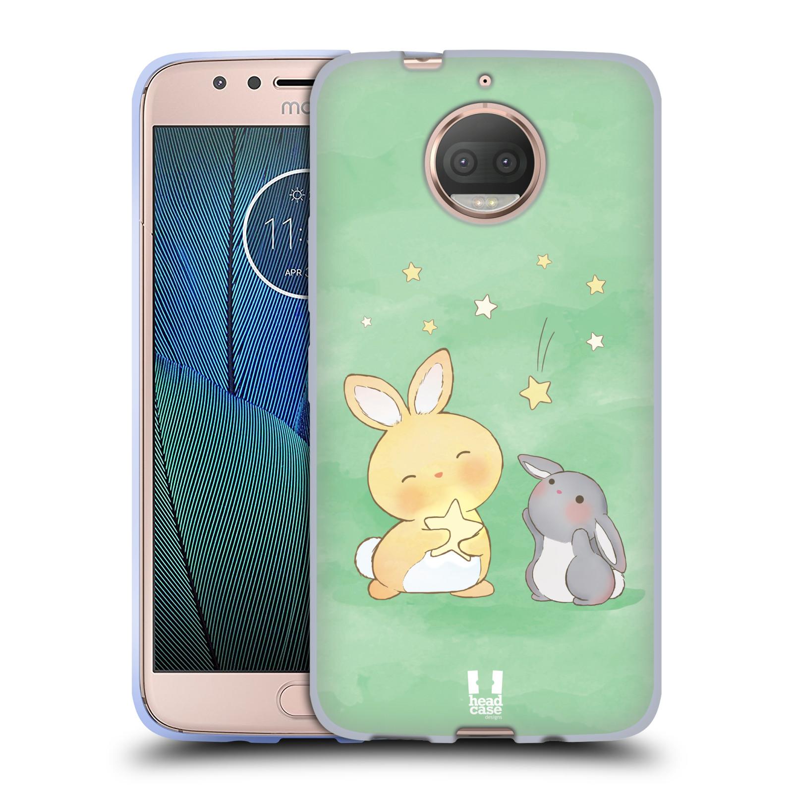 HEAD CASE silikonový obal na mobil Lenovo Moto G5s PLUS vzor králíček a hvězdy zelená