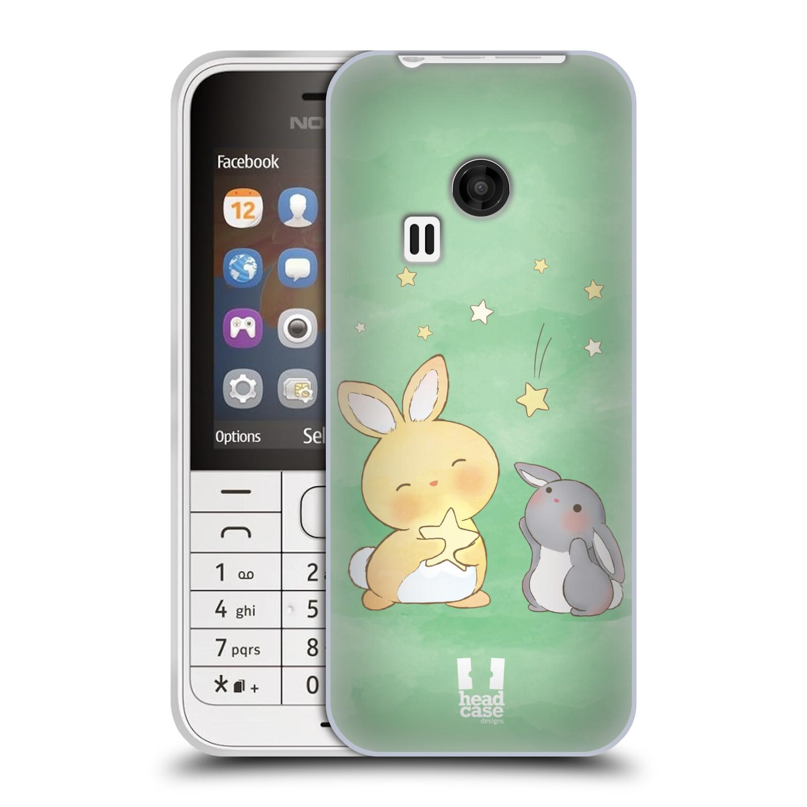 HEAD CASE silikonový obal na mobil NOKIA 220 / NOKIA 220 DUAL SIM vzor králíček a hvězdy zelená