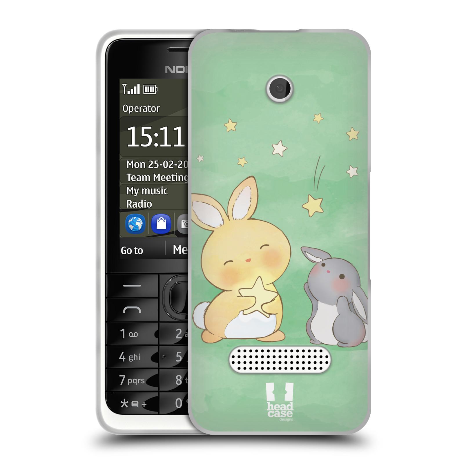 HEAD CASE silikonový obal na mobil NOKIA 301 vzor králíček a hvězdy zelená