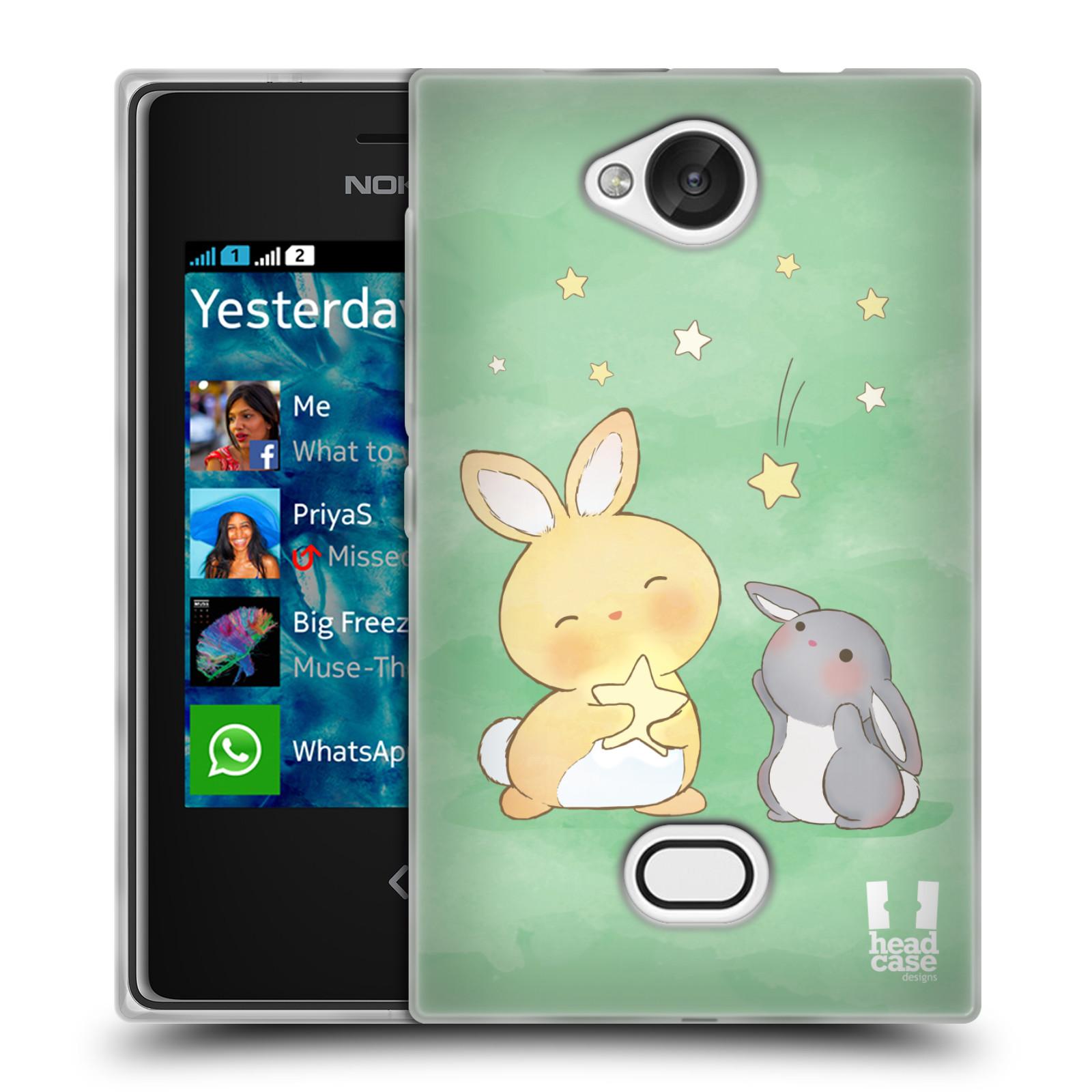 HEAD CASE silikonový obal na mobil NOKIA Asha 503 vzor králíček a hvězdy zelená