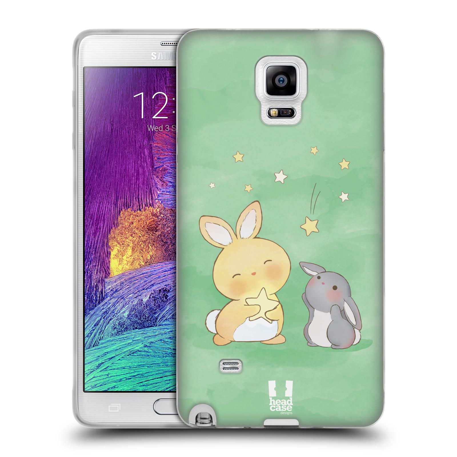 HEAD CASE silikonový obal na mobil Samsung Galaxy Note 4 (N910) vzor králíček a hvězdy zelená