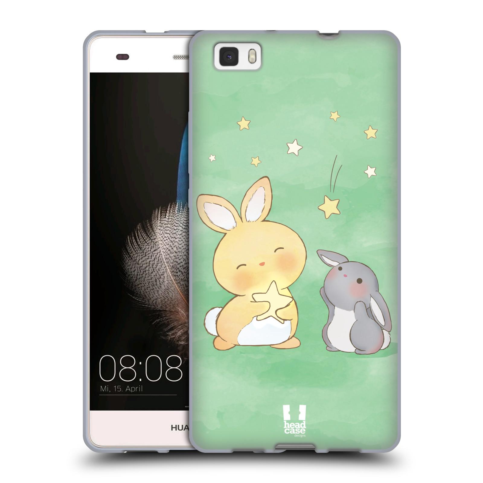HEAD CASE silikonový obal na mobil HUAWEI P8 LITE vzor králíček a hvězdy zelená