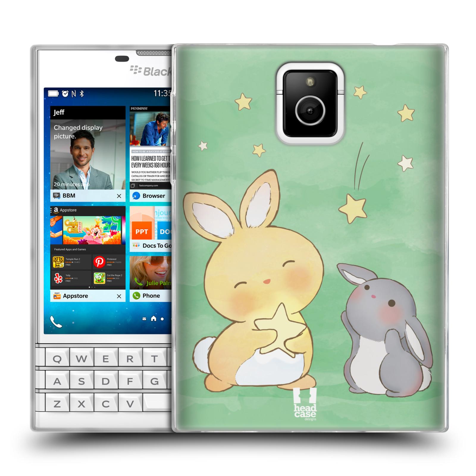 HEAD CASE silikonový obal na mobil Blackberry PASSPORT vzor králíček a hvězdy zelená