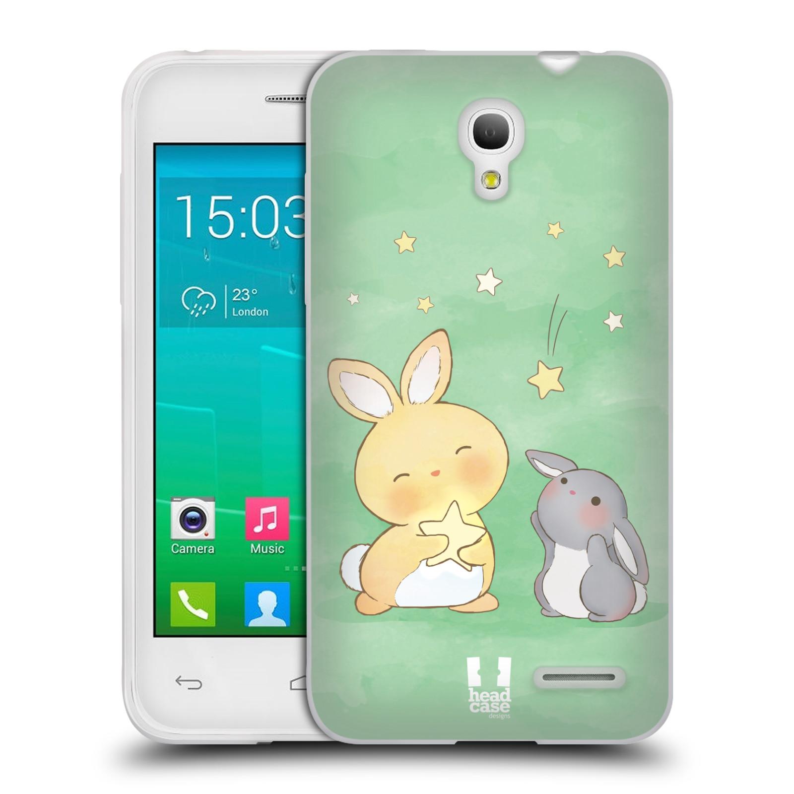 HEAD CASE silikonový obal na mobil Alcatel POP S3 OT-5050Y vzor králíček a hvězdy zelená