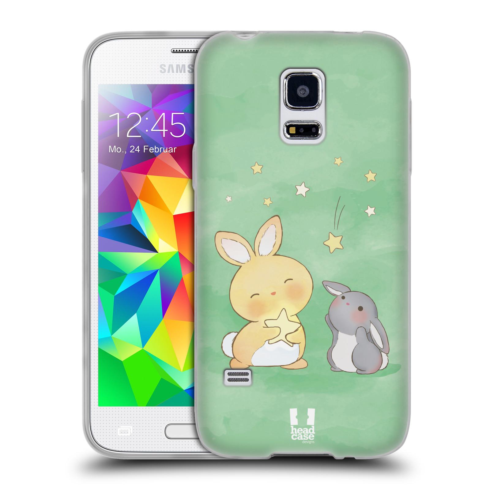 HEAD CASE silikonový obal na mobil Samsung Galaxy S5 MINI vzor králíček a hvězdy zelená