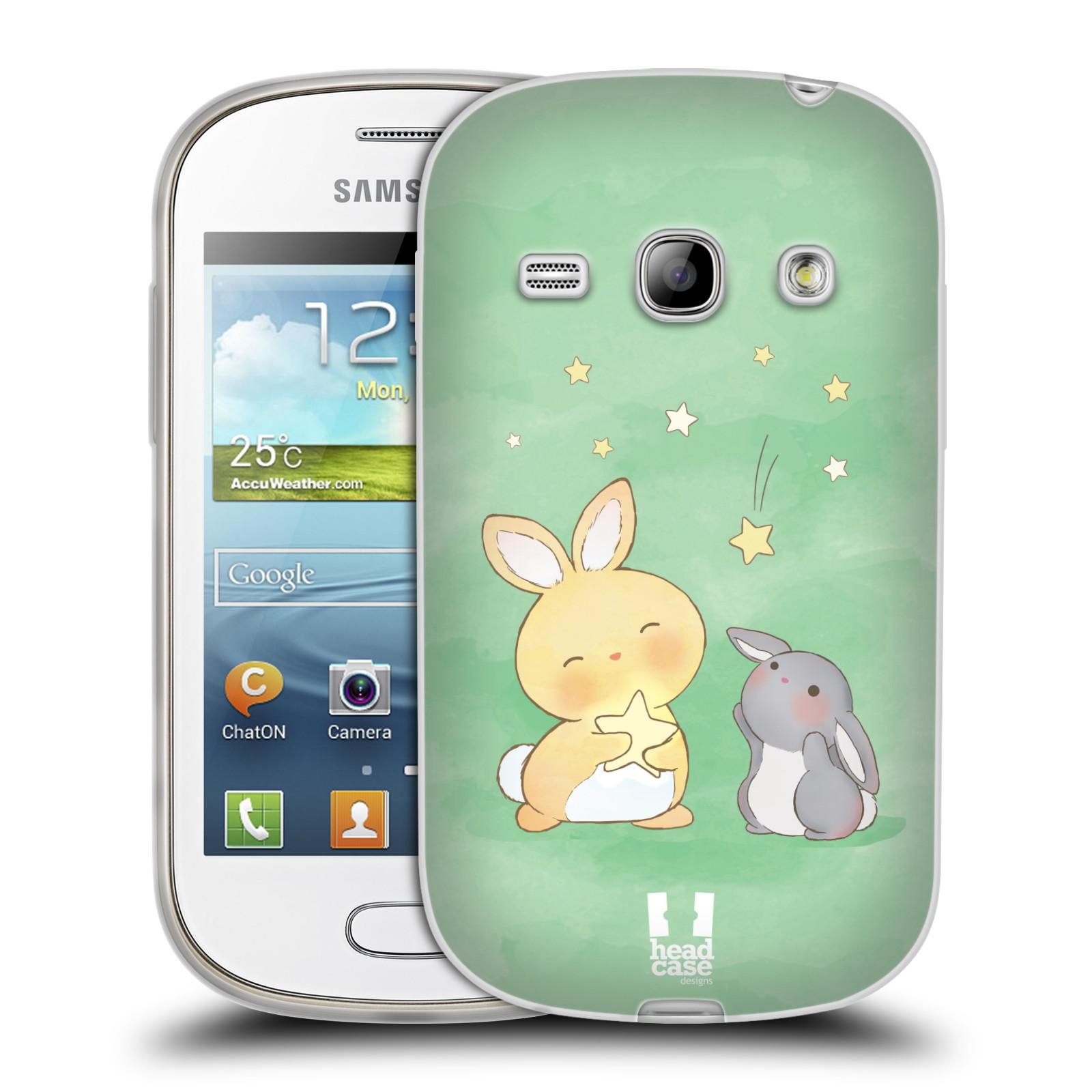 HEAD CASE silikonový obal na mobil Samsung Galaxy FAME vzor králíček a hvězdy zelená