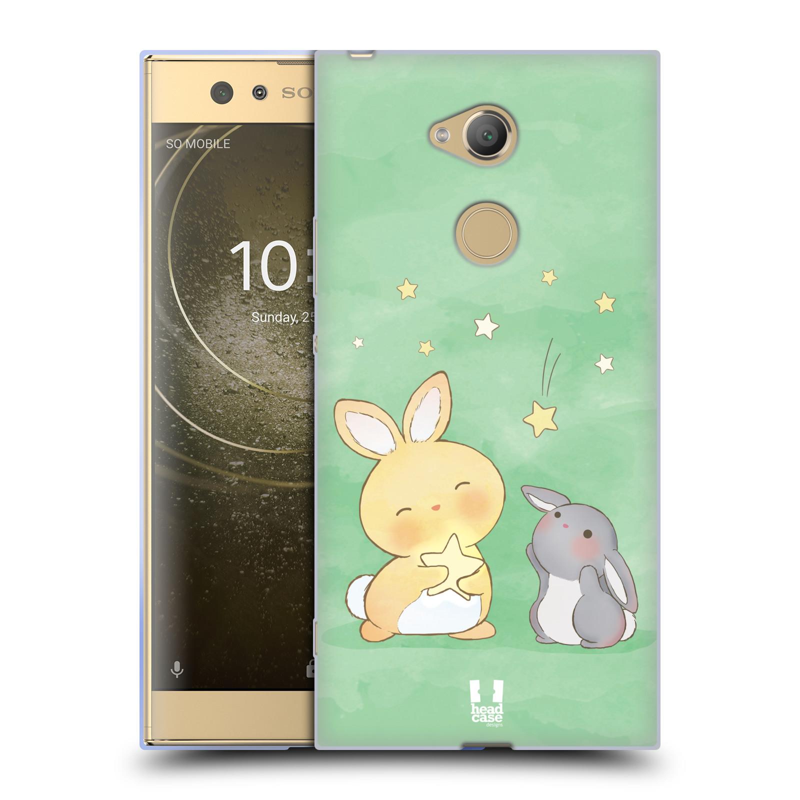 Pouzdro na mobil Sony Xperia XA2 Ultra vzor králíček a hvězdy zelená