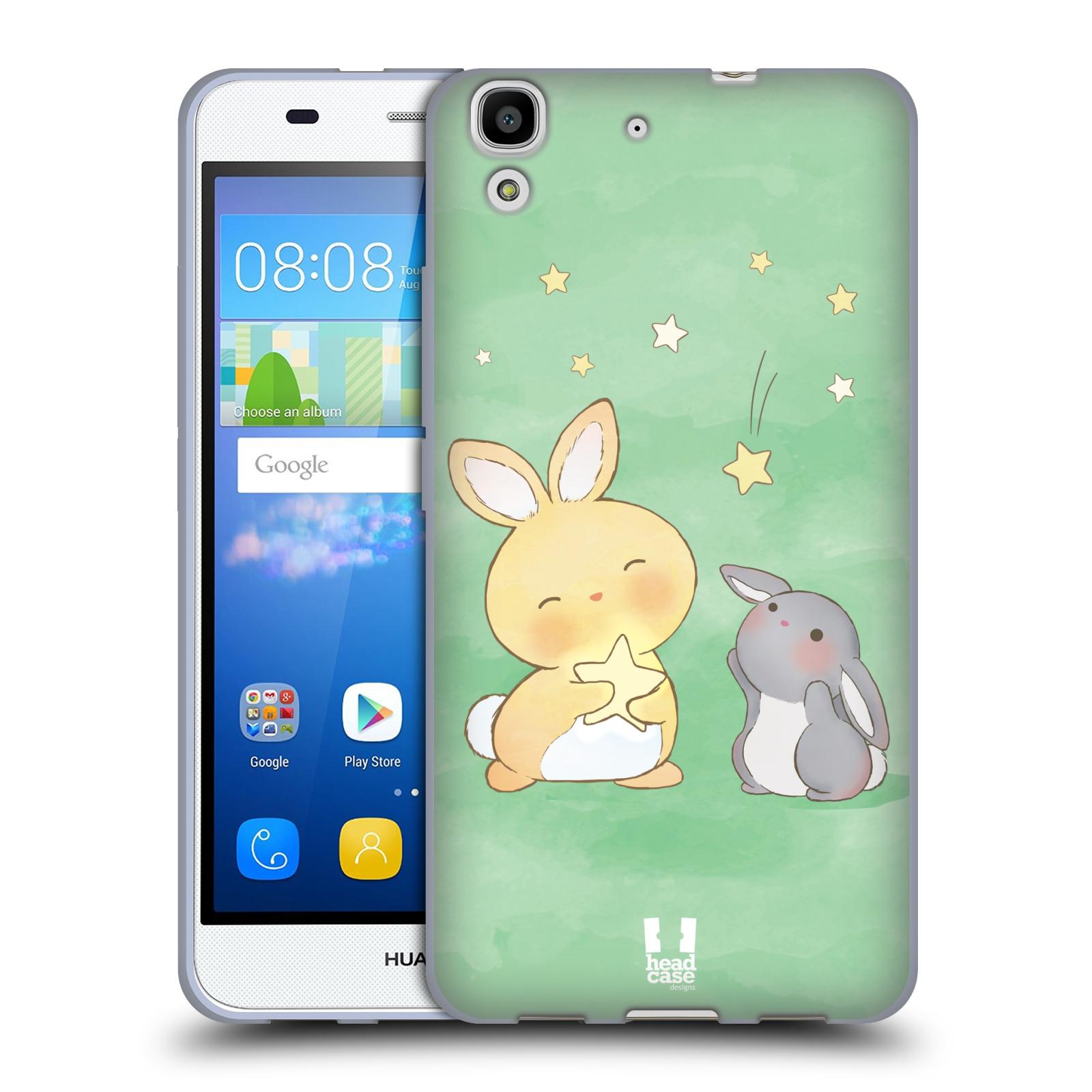 HEAD CASE silikonový obal na mobil HUAWEI Y6 vzor králíček a hvězdy zelená
