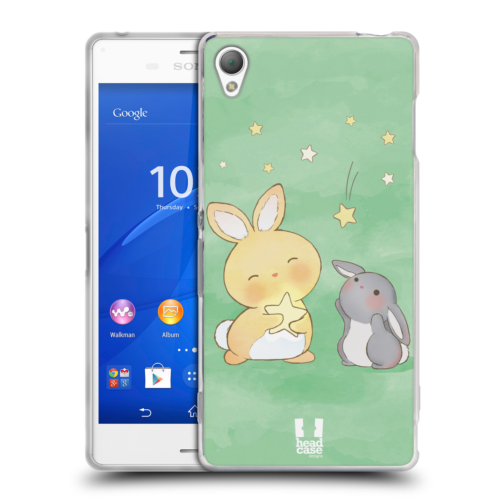 HEAD CASE silikonový obal na mobil Sony Xperia Z3 vzor králíček a hvězdy zelená