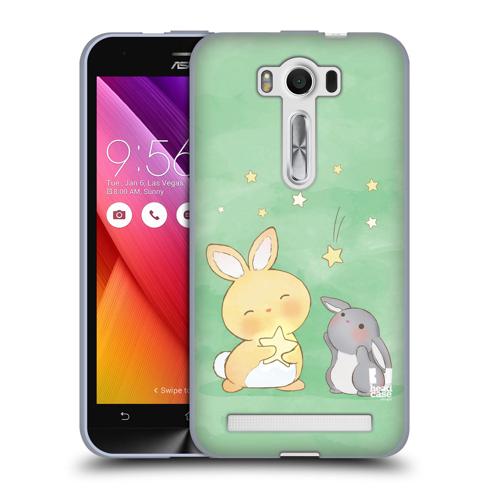 """HEAD CASE silikonový obal na mobil Asus Zenfone 2 LASER (ZE500KL s 5"""" displejem) vzor králíček a hvězdy zelená"""