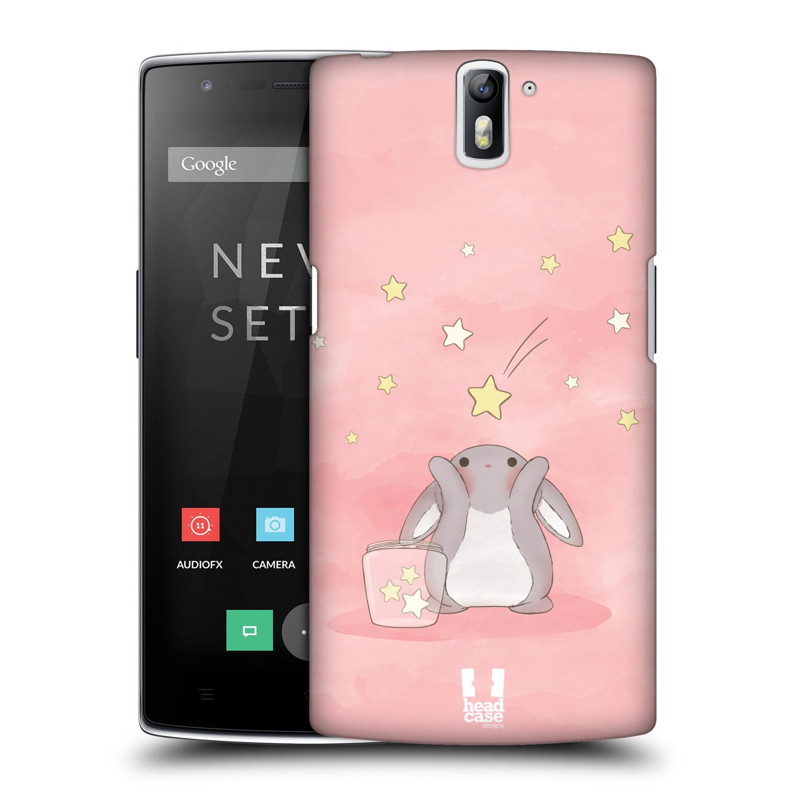 HEAD CASE pevný plastový obal na mobil OnePlus ONE vzor králíček a hvězdy růžová
