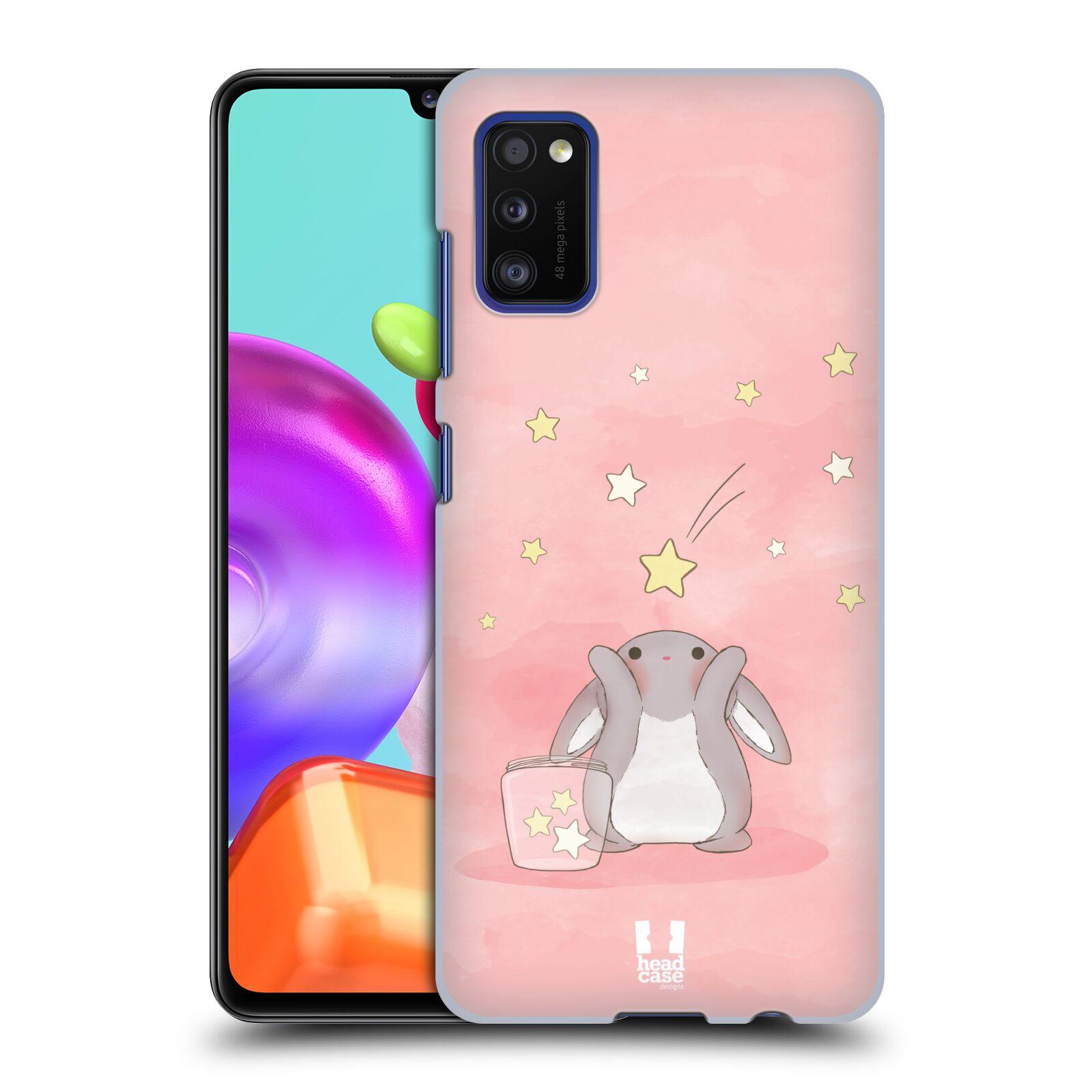 Zadní kryt na mobil Samsung Galaxy A41 vzor králíček a hvězdy růžová
