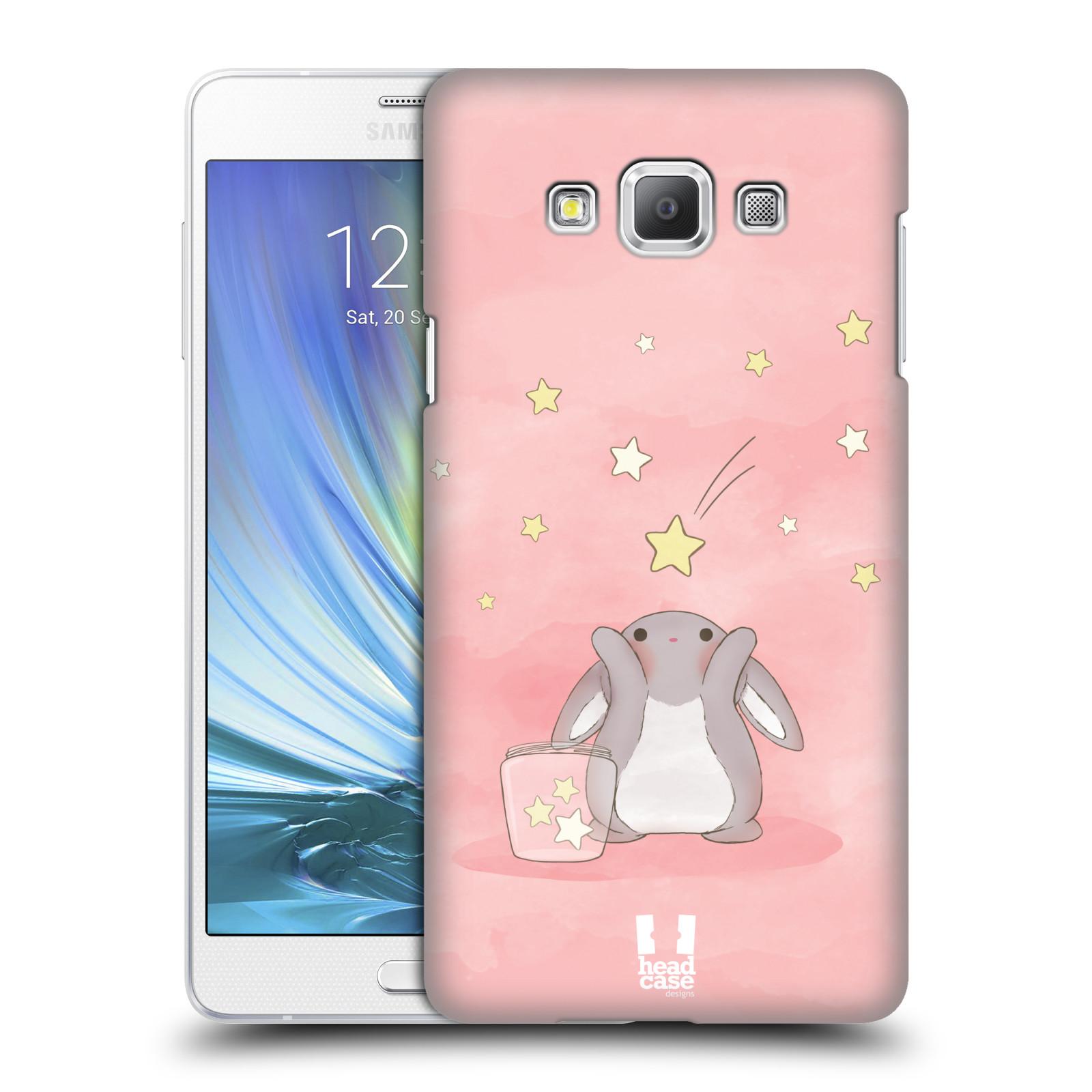 HEAD CASE plastový obal na mobil SAMSUNG GALAXY A7 vzor králíček a hvězdy růžová