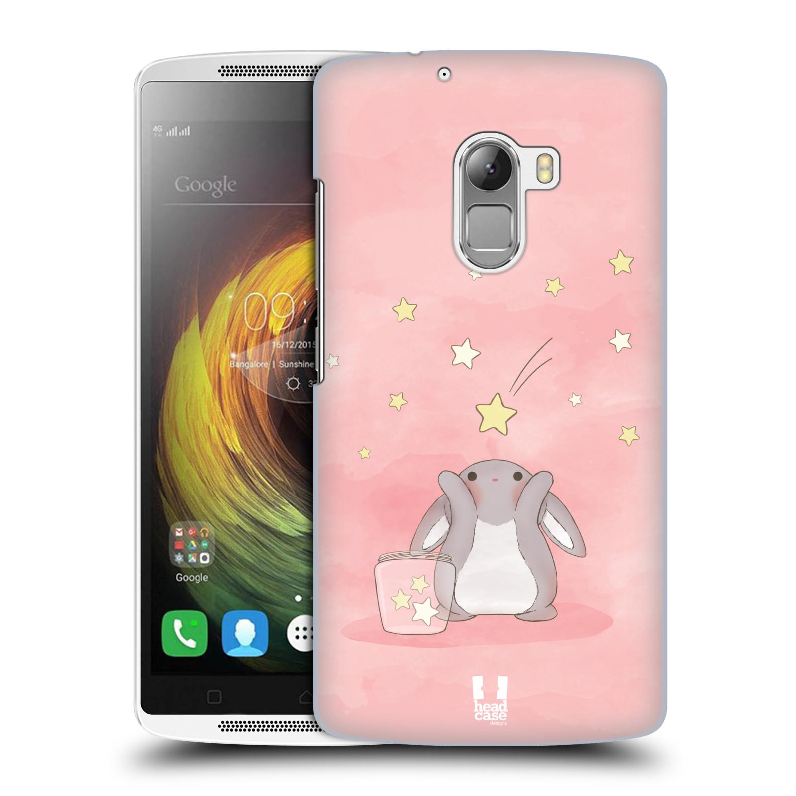 HEAD CASE pevný plastový obal na mobil LENOVO A7010 / A7010 DUAL / K4 Note / Vibe X3 lite vzor králíček a hvězdy růžová