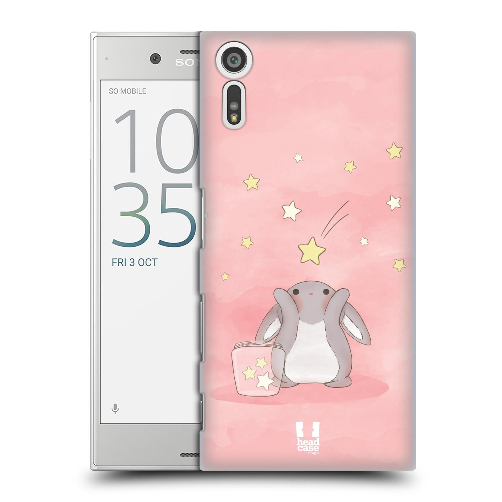 HEAD CASE plastový obal na mobil Sony Xperia XZ vzor králíček a hvězdy růžová