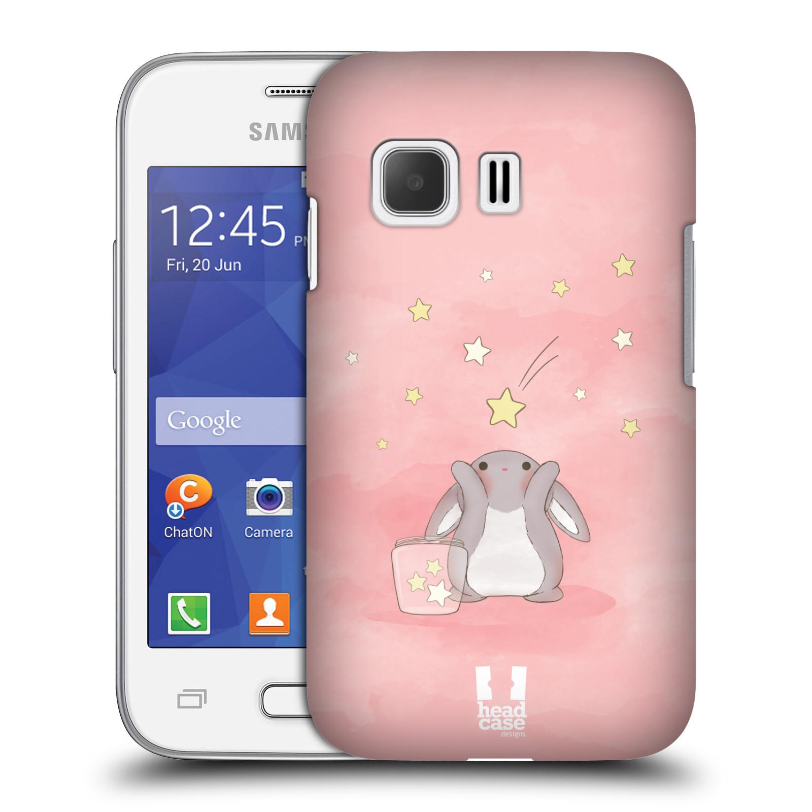 HEAD CASE plastový obal na mobil SAMSUNG Galaxy Young 2 (G130) vzor králíček a hvězdy růžová