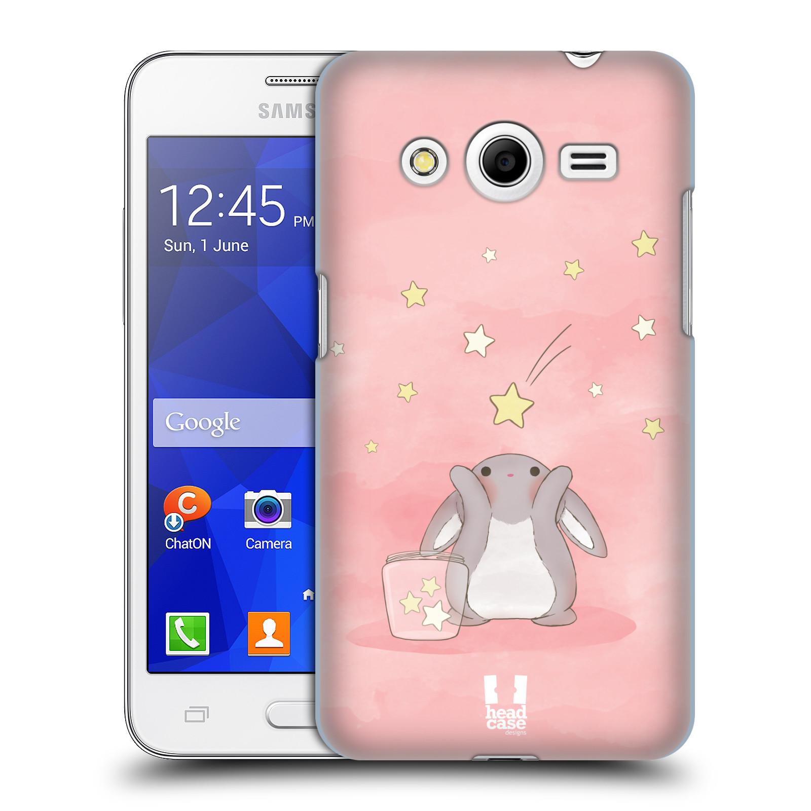 HEAD CASE plastový obal na mobil SAMSUNG GALAXY Core 2 (G355H) vzor králíček a hvězdy růžová