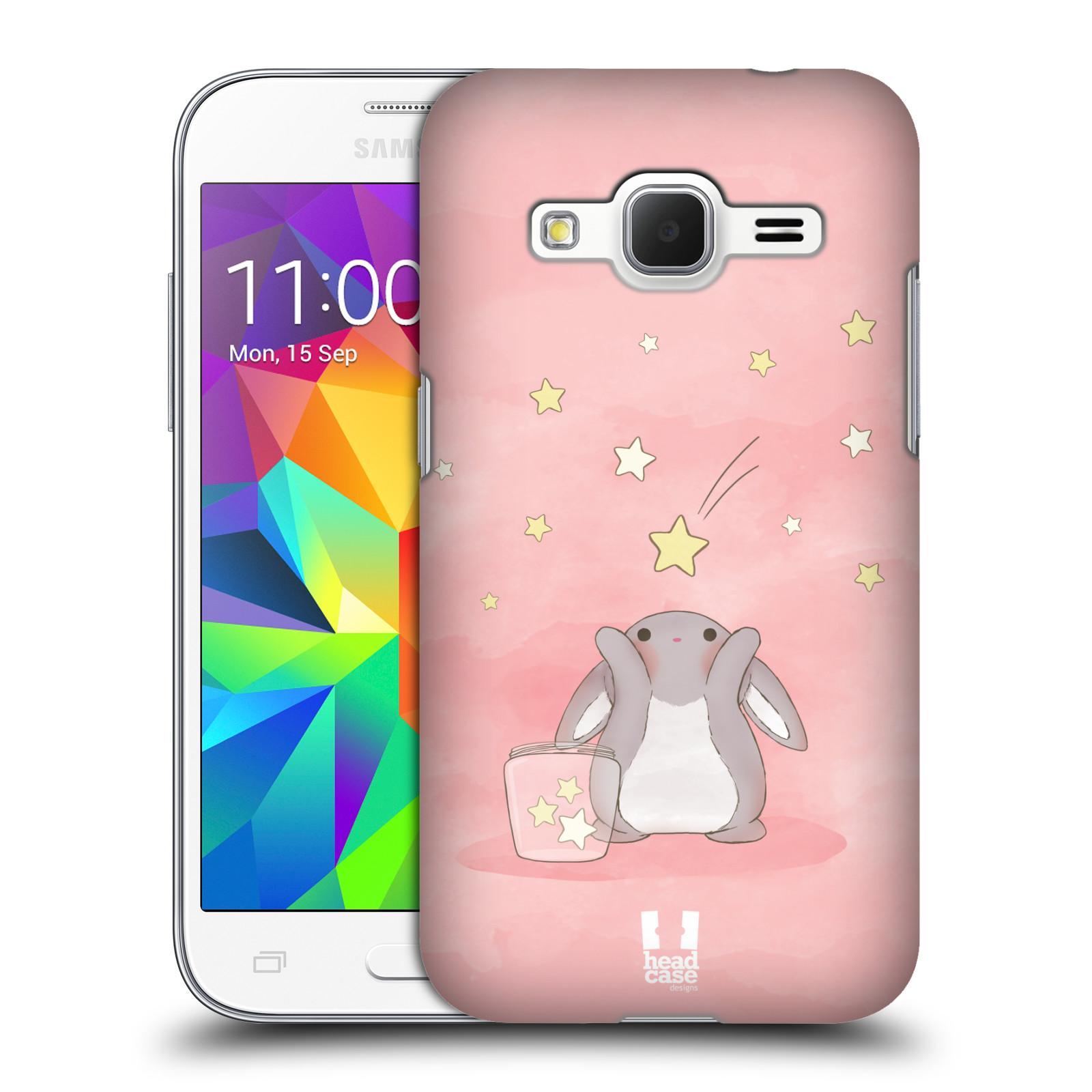 HEAD CASE plastový obal na mobil SAMSUNG GALAXY Core Prime (Core Prime VE) vzor králíček a hvězdy růžová