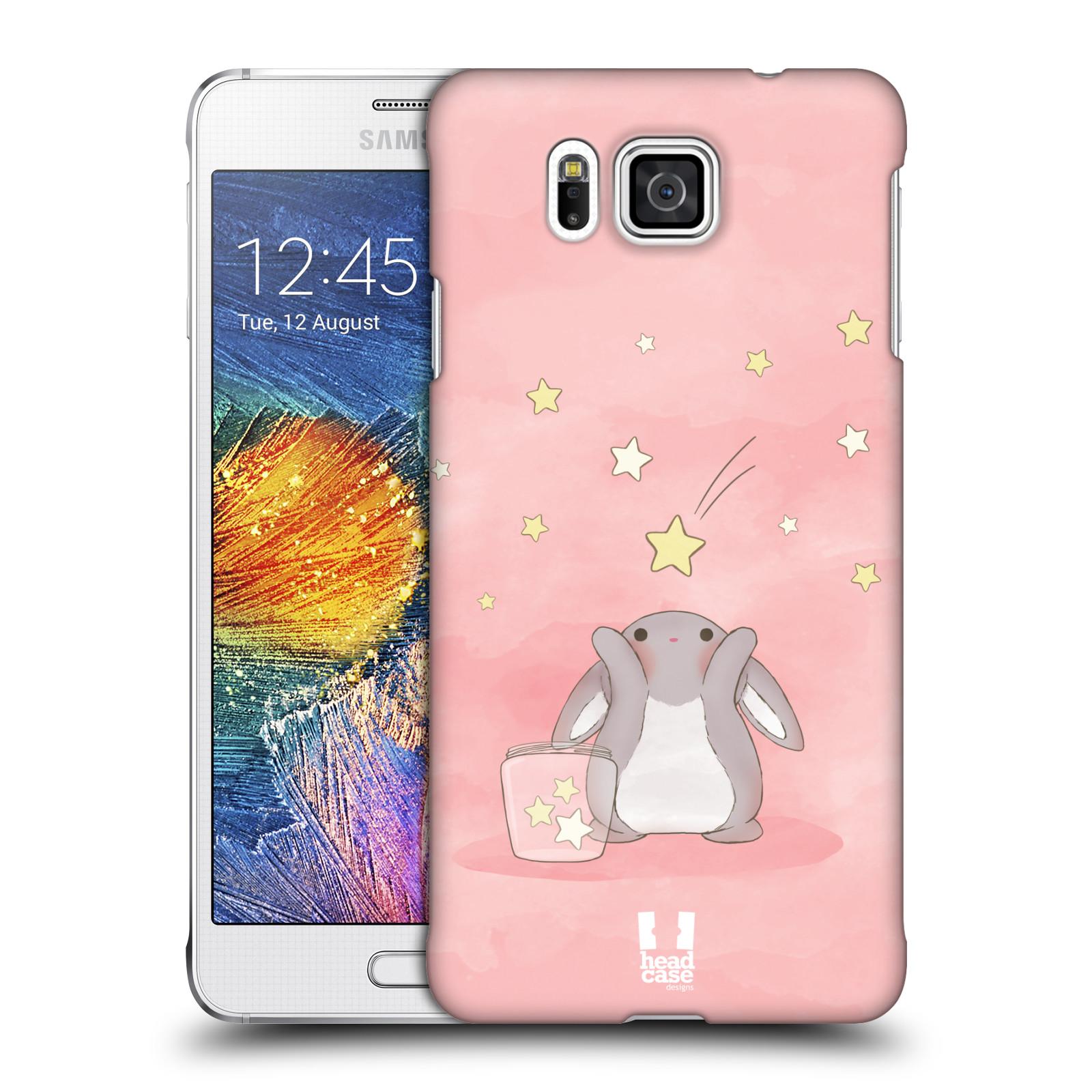 HEAD CASE plastový obal na mobil SAMSUNG Galaxy Alpha (G850) vzor králíček a hvězdy růžová
