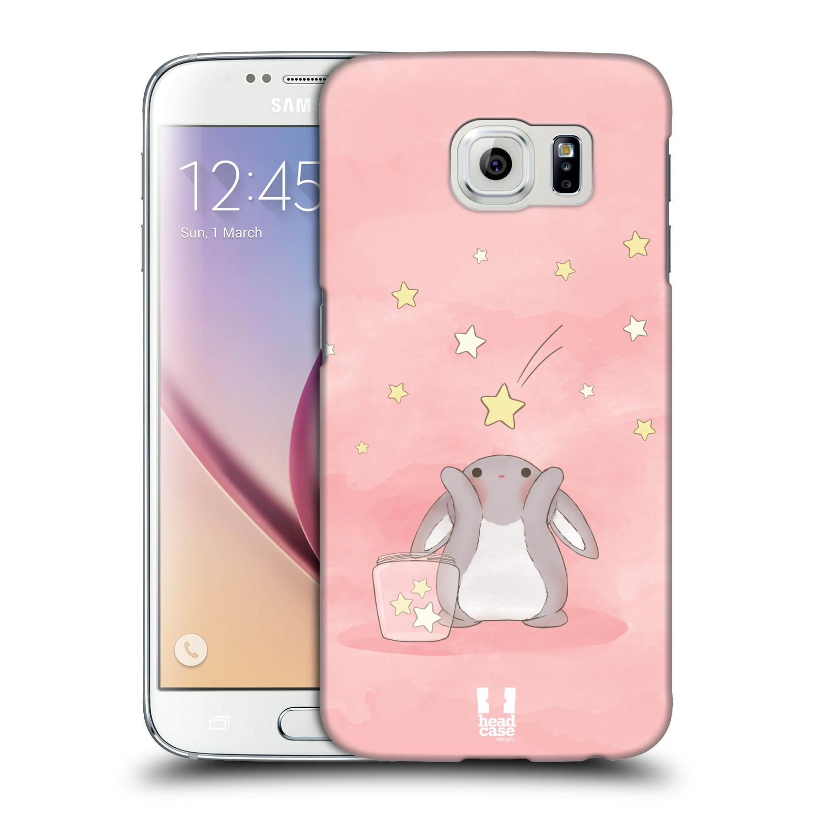 HEAD CASE plastový obal na mobil SAMSUNG Galaxy S6 (G9200, G920F) vzor králíček a hvězdy růžová