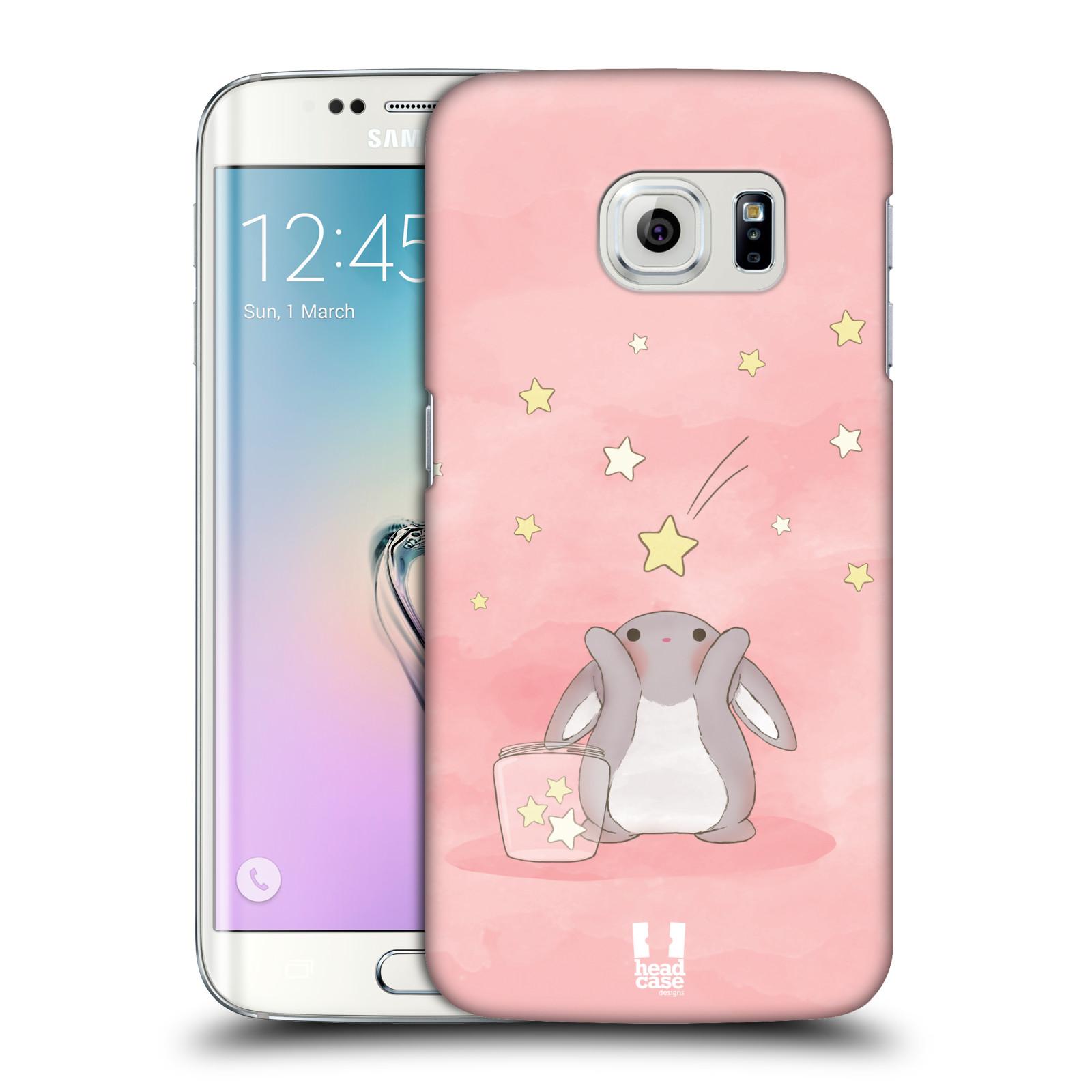 HEAD CASE plastový obal na mobil SAMSUNG Galaxy S6 EDGE (G9250, G925, G925F) vzor králíček a hvězdy růžová