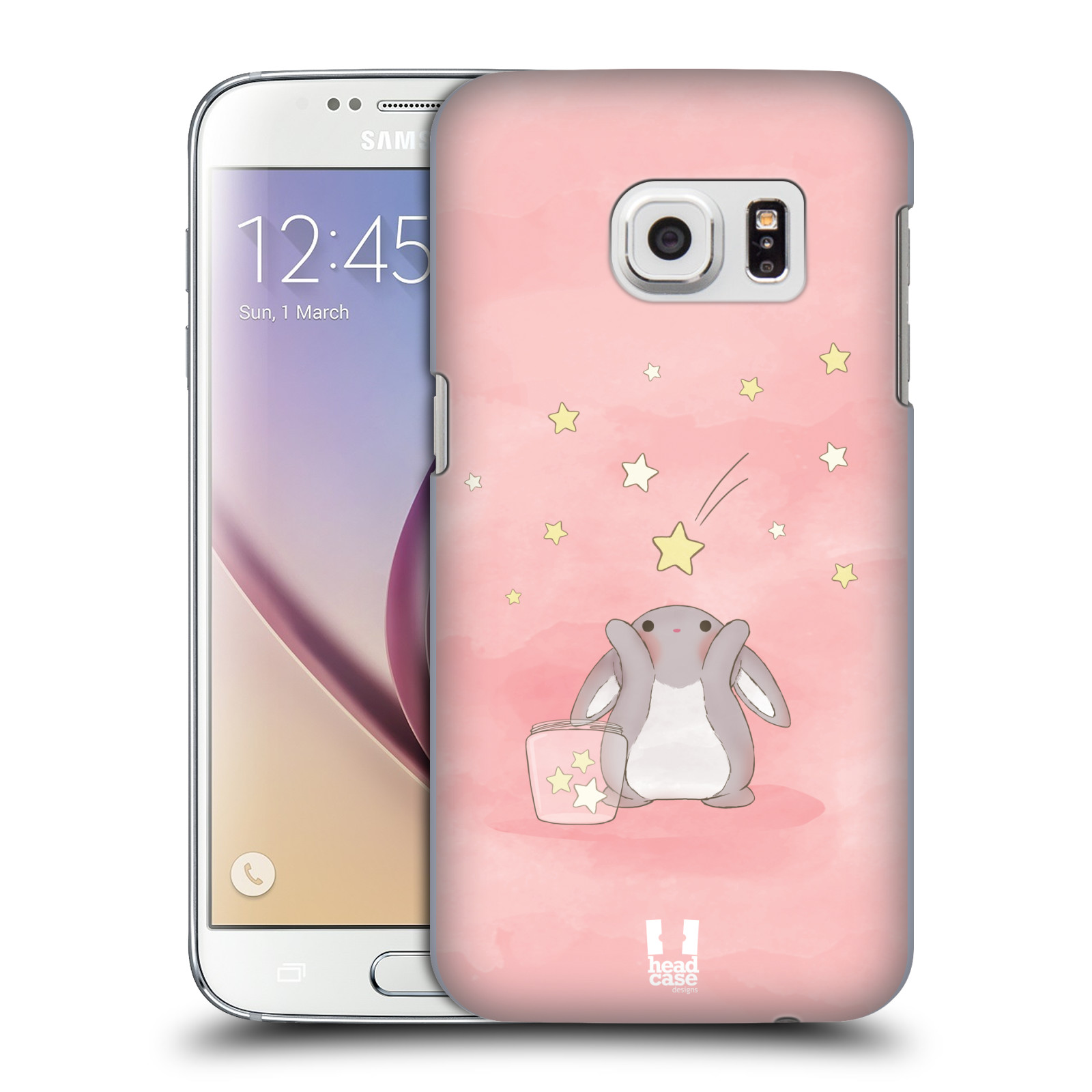 HEAD CASE plastový obal na mobil SAMSUNG GALAXY S7 vzor králíček a hvězdy růžová
