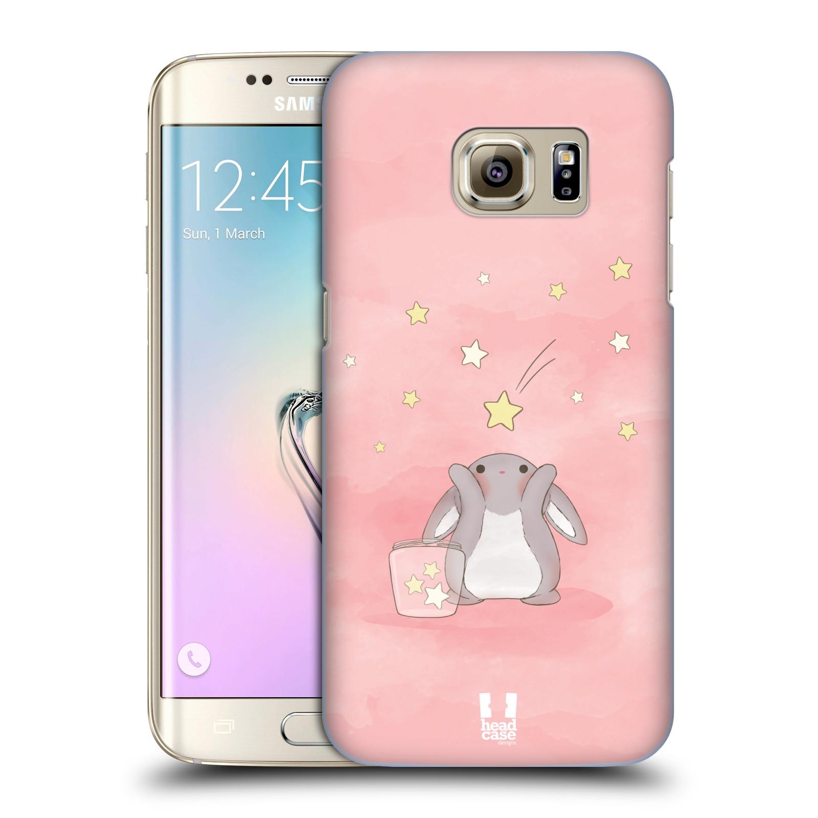 HEAD CASE plastový obal na mobil SAMSUNG GALAXY S7 EDGE vzor králíček a hvězdy růžová