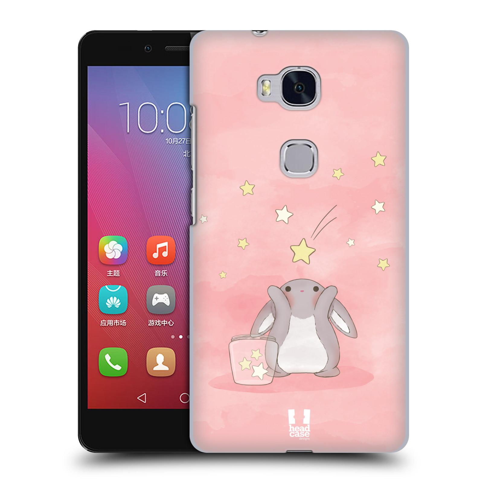 HEAD CASE pevný plastový obal na mobil HUAWEI HONOR 5X vzor králíček a hvězdy růžová