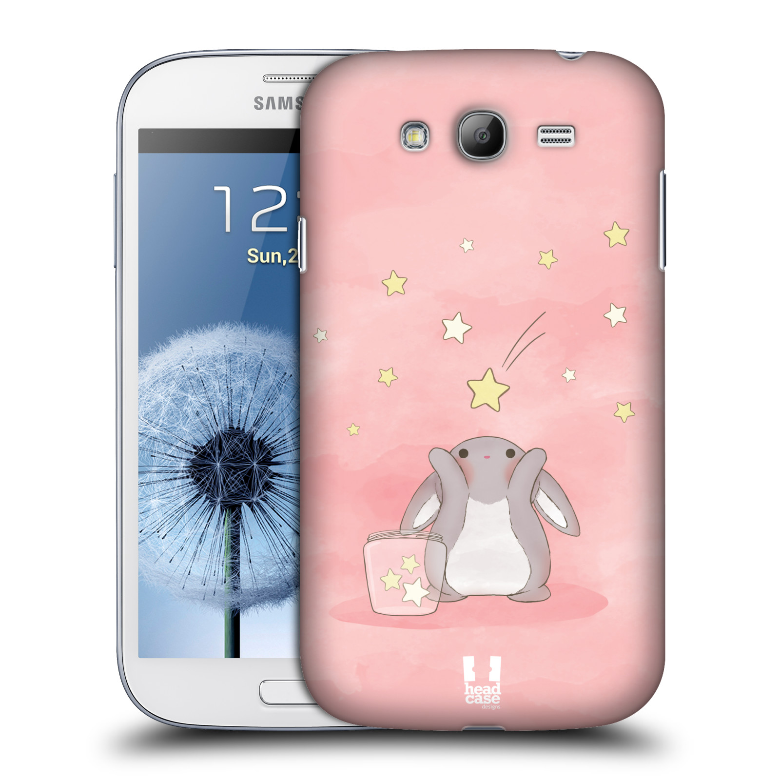 HEAD CASE plastový obal na mobil SAMSUNG GALAXY Grand i9080 vzor králíček a hvězdy růžová