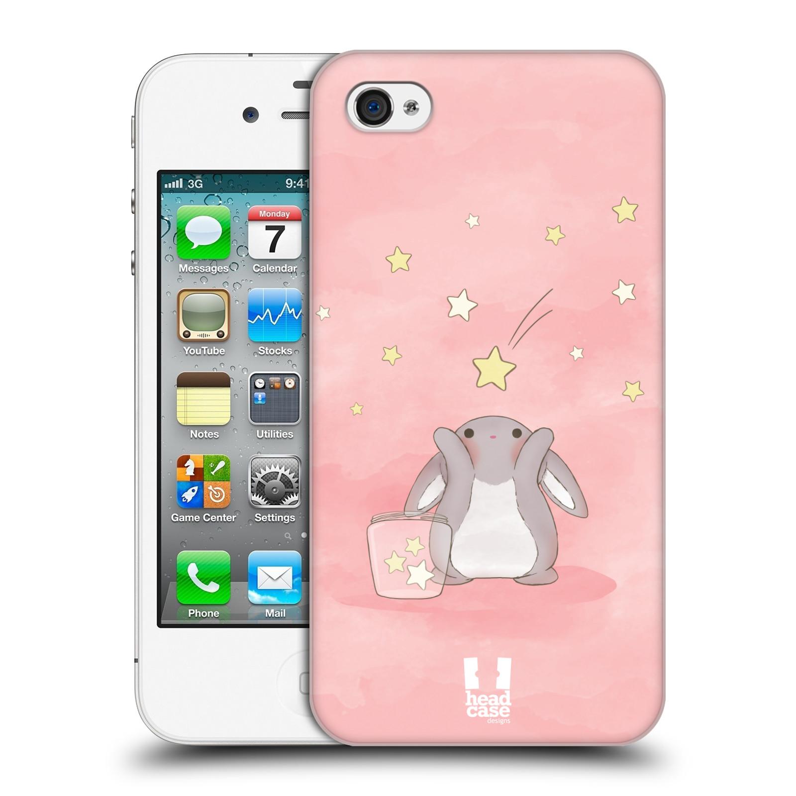 HEAD CASE plastový obal na mobil Apple Iphone 4/4S vzor králíček a hvězdy růžová