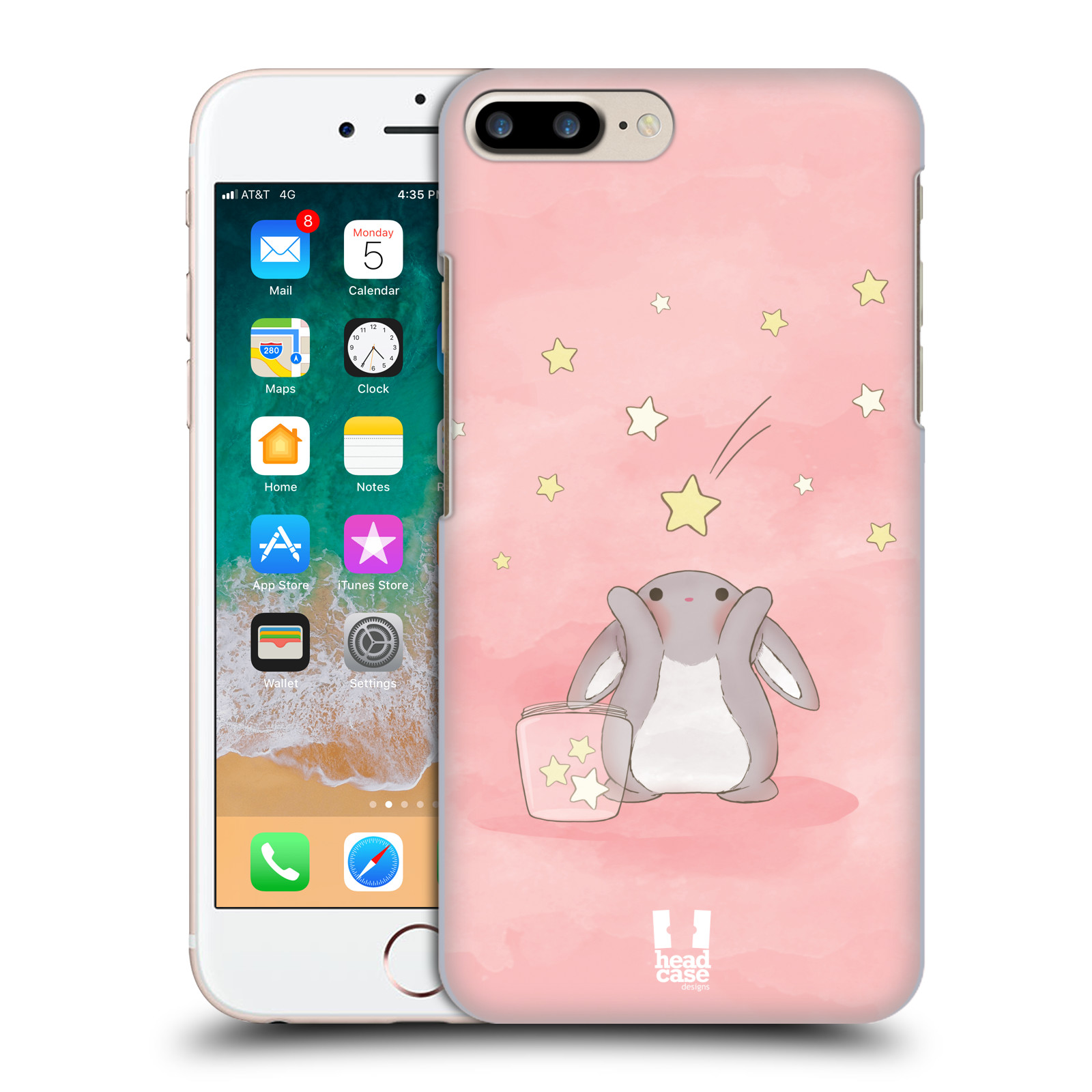 HEAD CASE plastový obal na mobil Apple Iphone 7 PLUS vzor králíček a hvězdy růžová